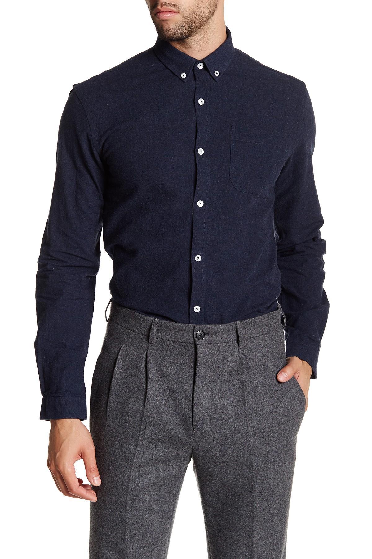 Lindbergh oxford long sleeve slim fit shirt in blue for for Men oxford slim fit long sleeve shirt