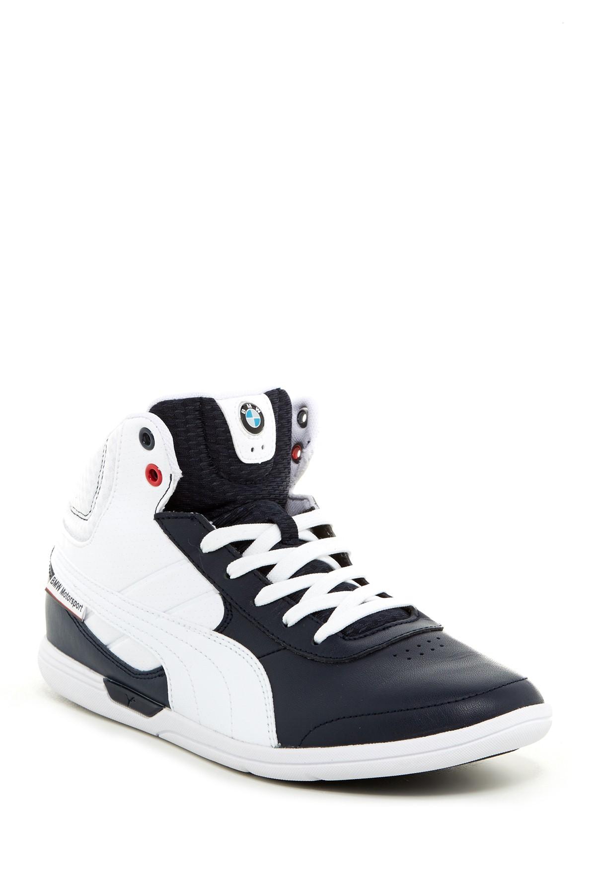 puma bmw mid sneaker in white for men lyst. Black Bedroom Furniture Sets. Home Design Ideas