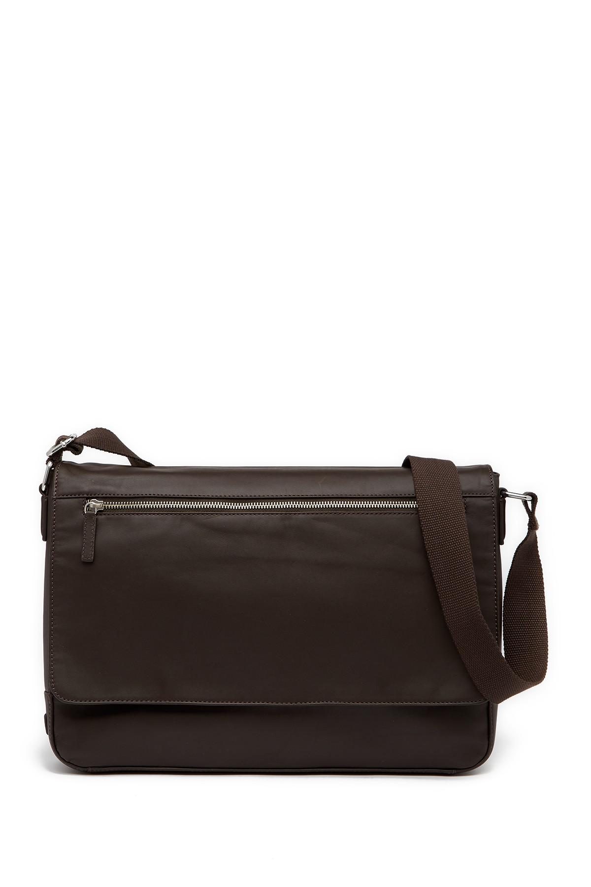 84cab921238ff Lyst - Cole Haan Smooth Leather Messenger Bag in Black for Men