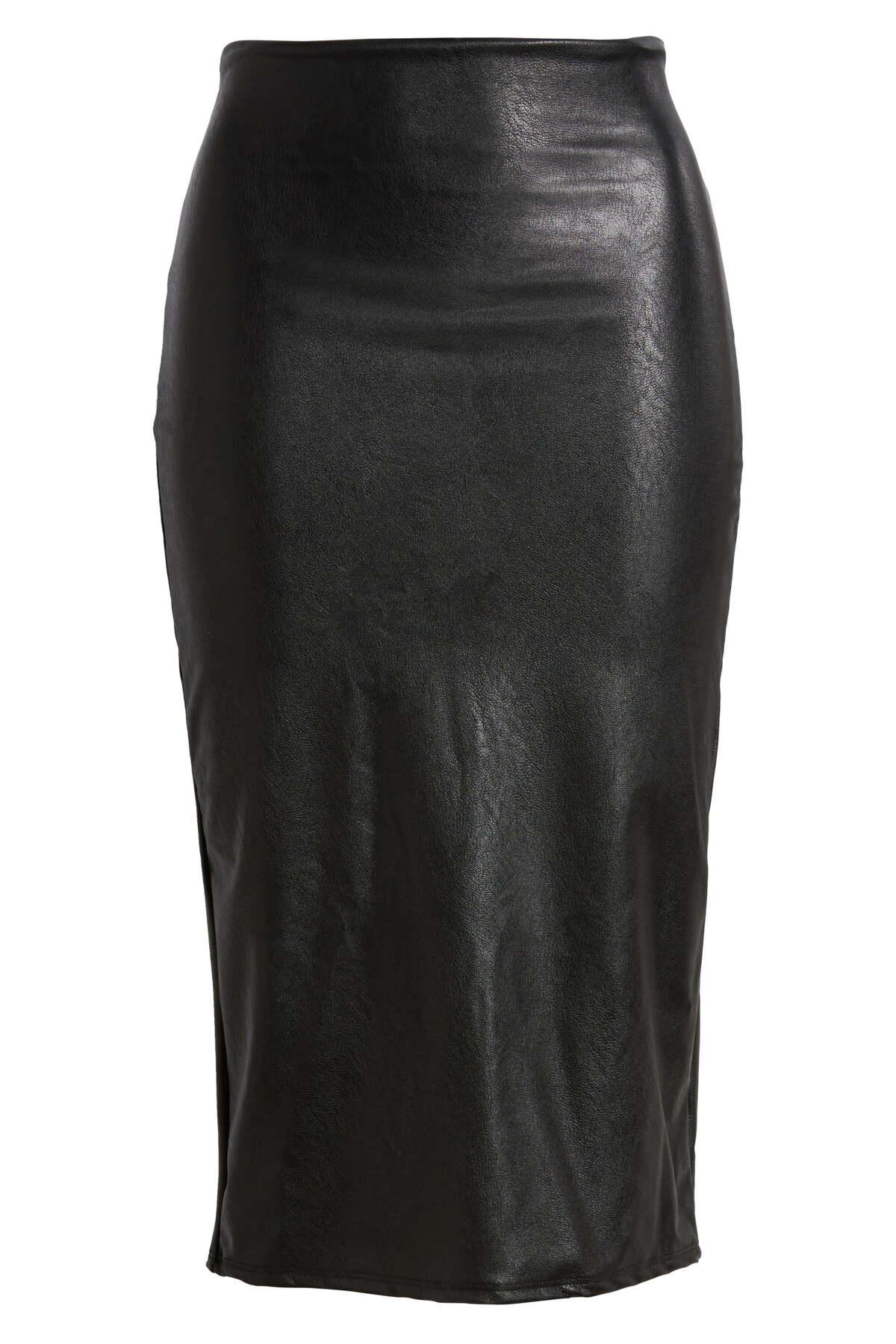 Language In 45 And 47 Stella Street: Commando Faux Leather Midi Skirt In Black