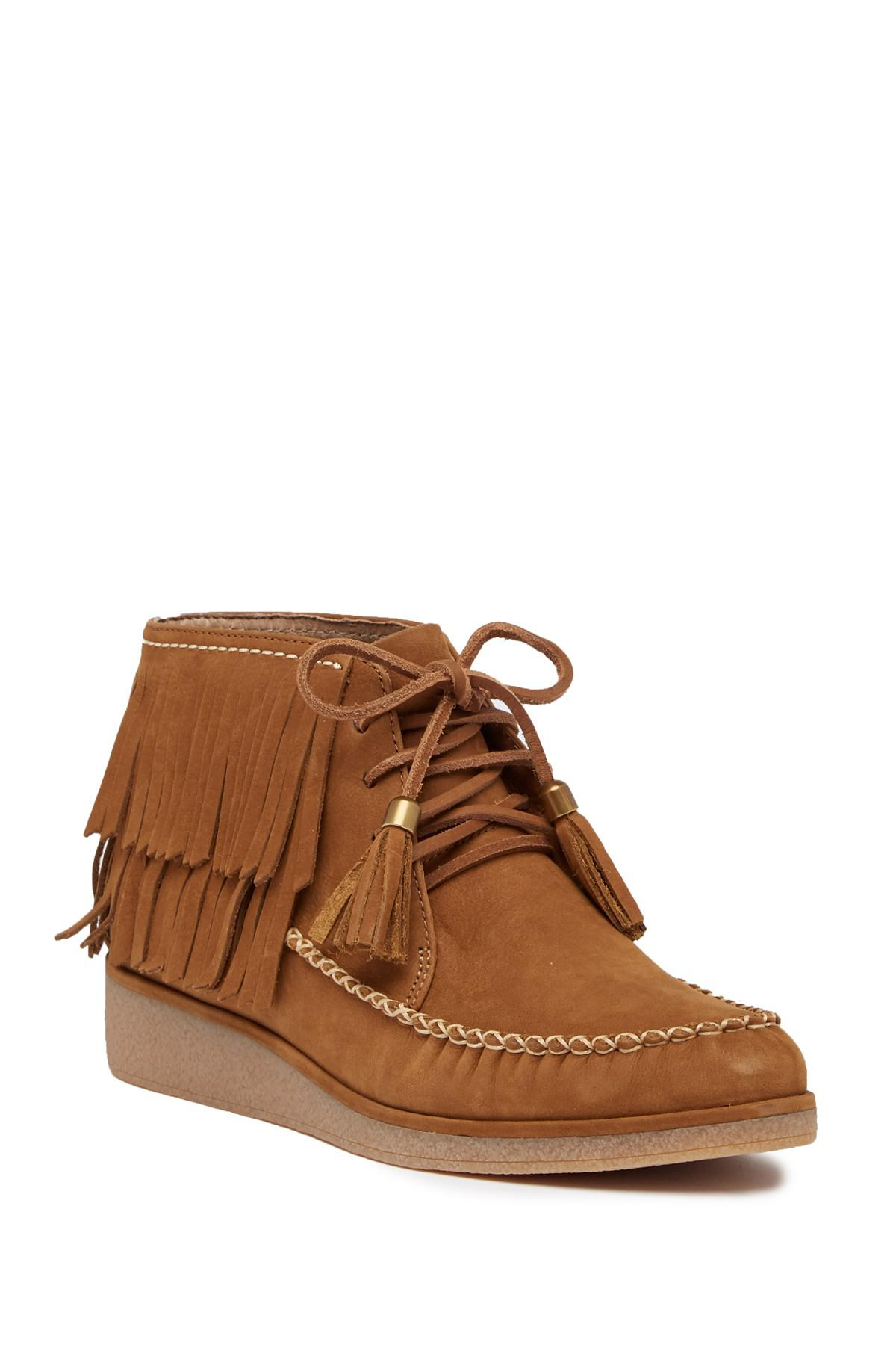 26d89fdb862 Lyst - UGG Caleb Leather Wedge Bootie in Brown