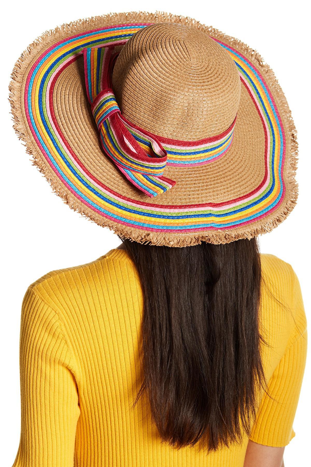 52c2bec868 Lyst - Betsey Johnson Rainbow Raw Edge Floppy Hat