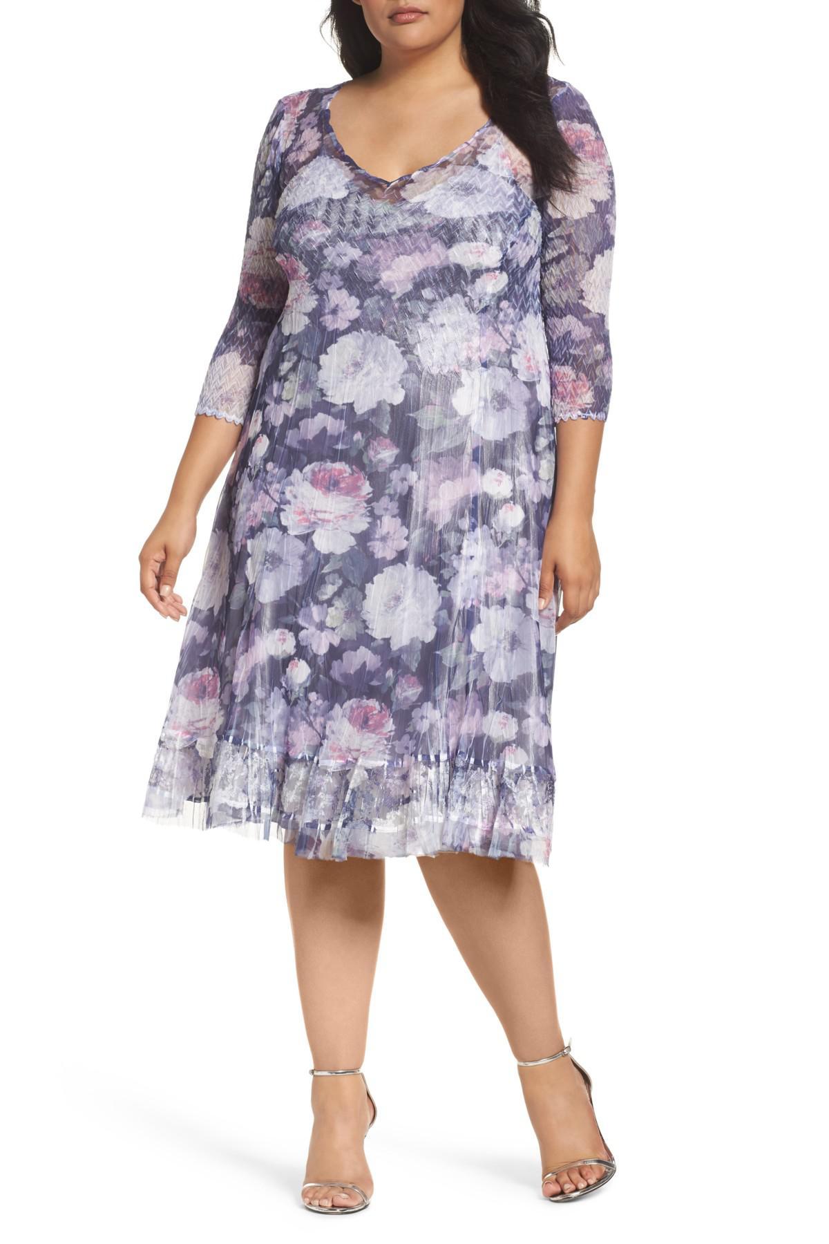 Lyst - Komarov Mixed Media A-line Dress (plus Size)