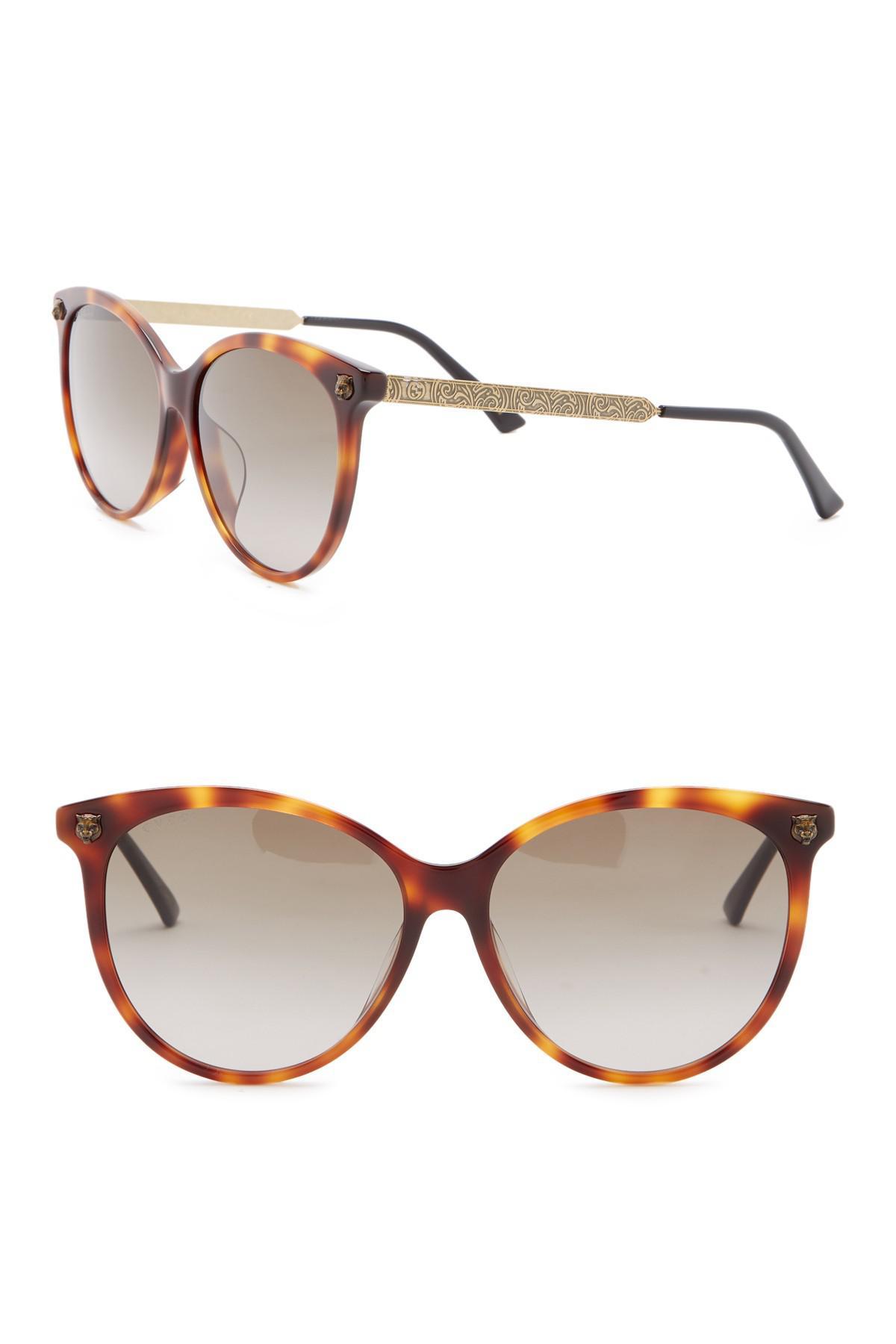 380c1a8a5af Lyst - Gucci 57mm Round Sunglasses in Brown