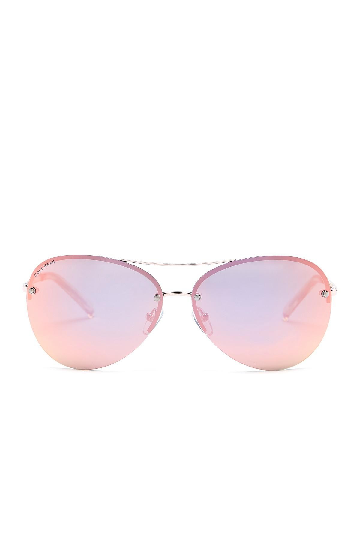 dd0e55da9ef0 Cole Haan Women's Wrap Aviator Polarized Sunglasses in Pink - Lyst