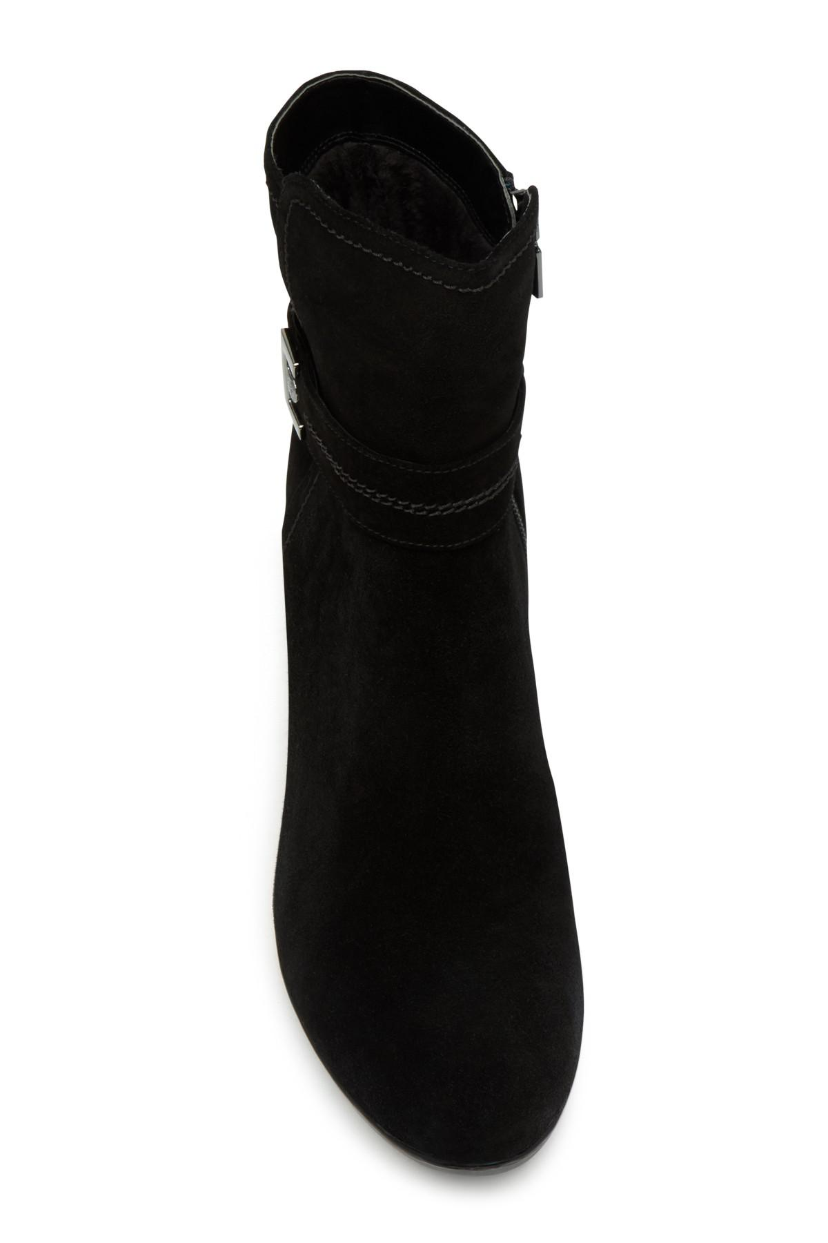 0c4dccd267a7 Lyst - Blondo Lucy Suede Faux Fur Lined Wedge Boot in Black