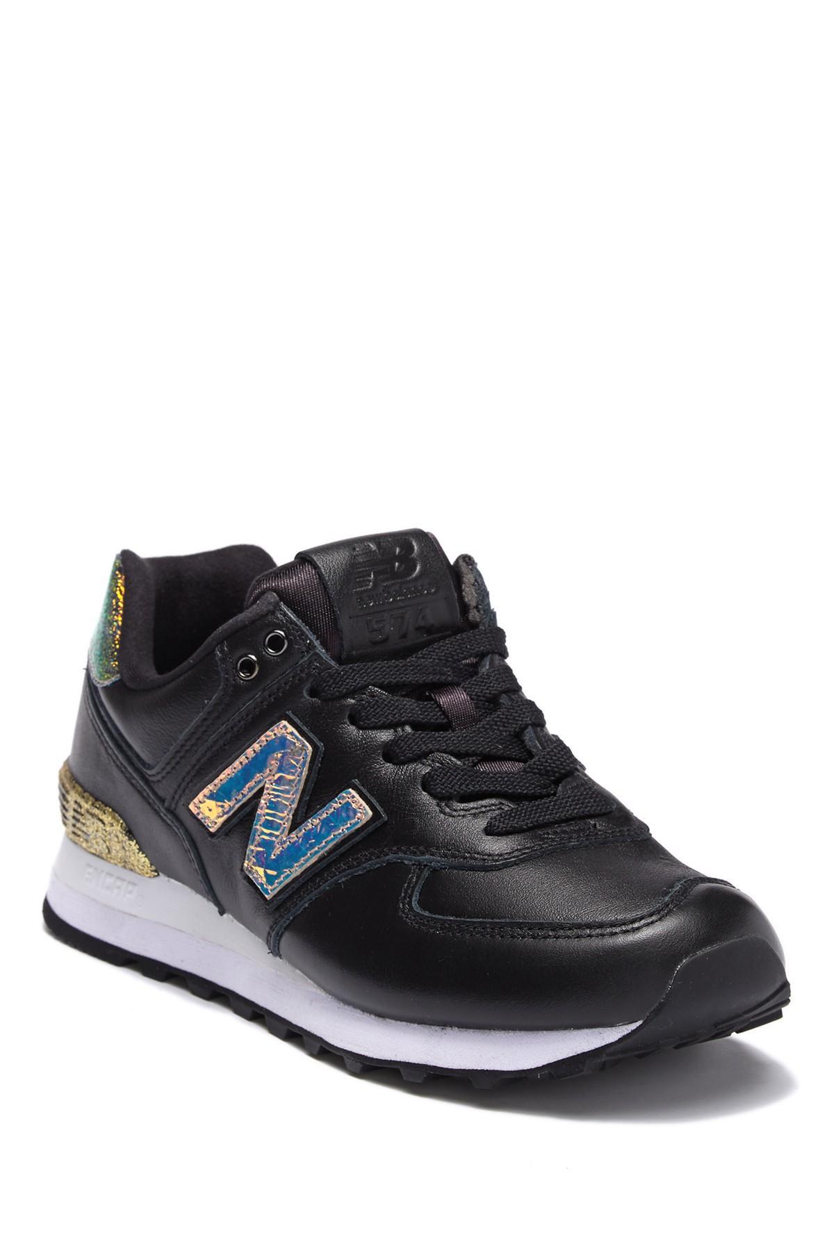 New Balance Leather 574 Glitter Punk Sneaker (women) in Black - Lyst