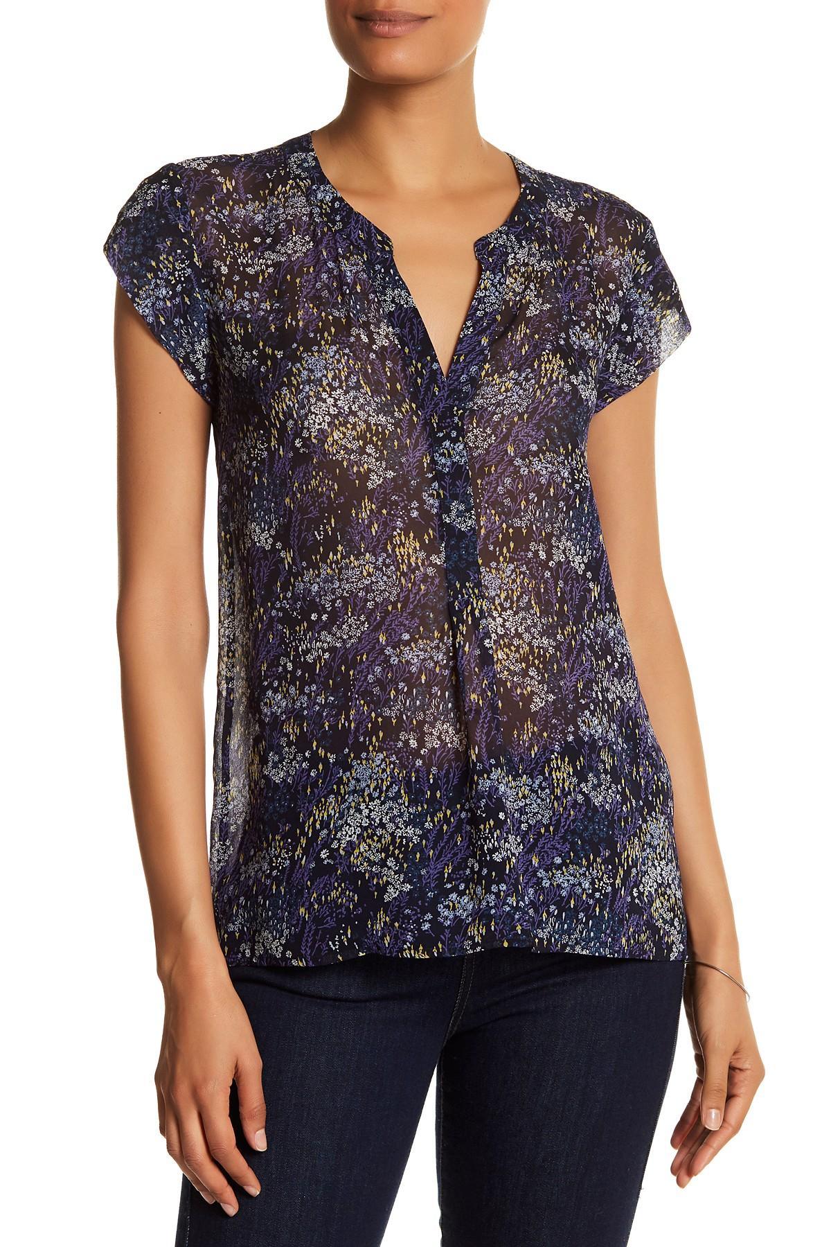 Womens Blue Short Sleeve Blouse 32