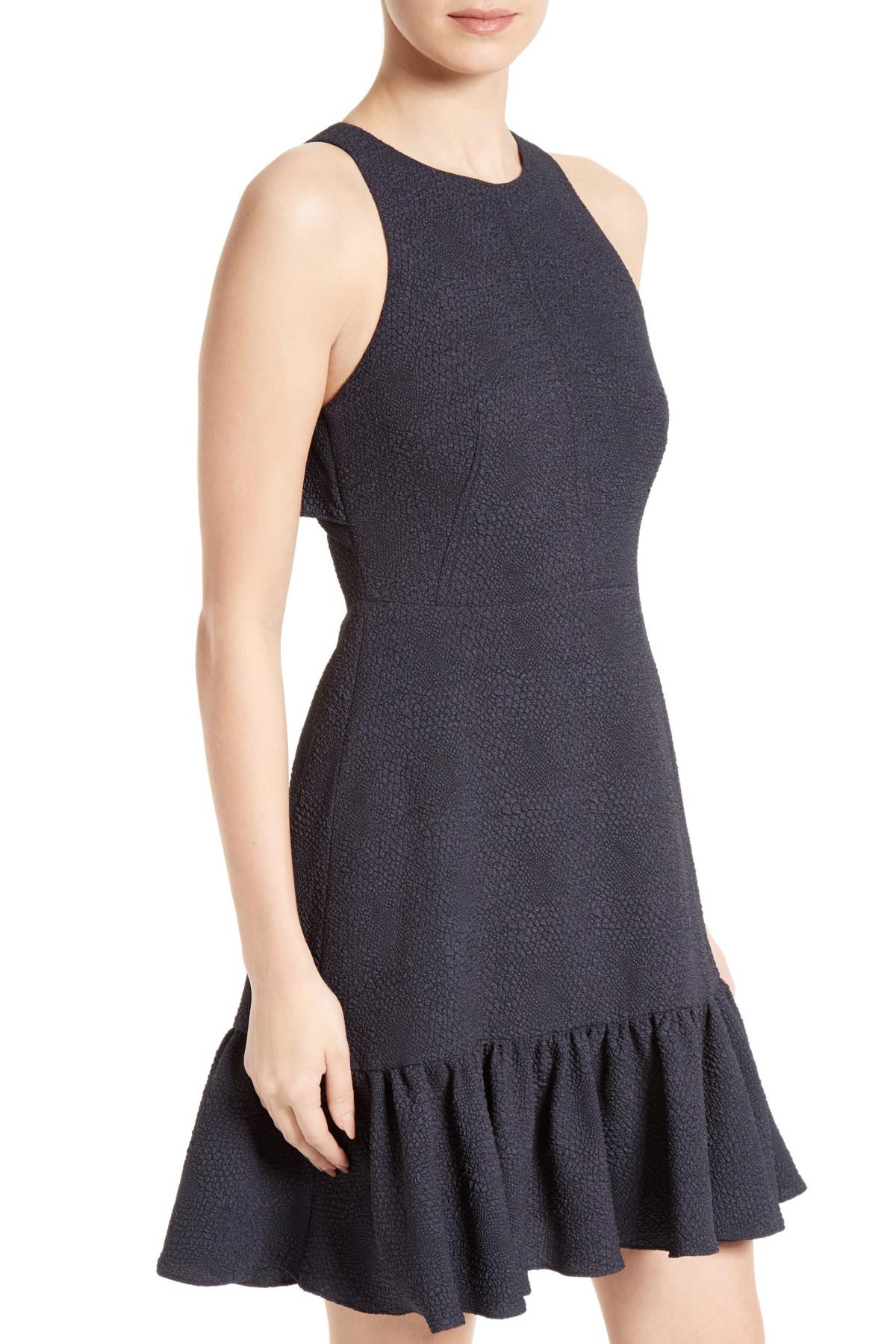 Lyst Rebecca Taylor Textured Stretch Woven Ruffle Dress