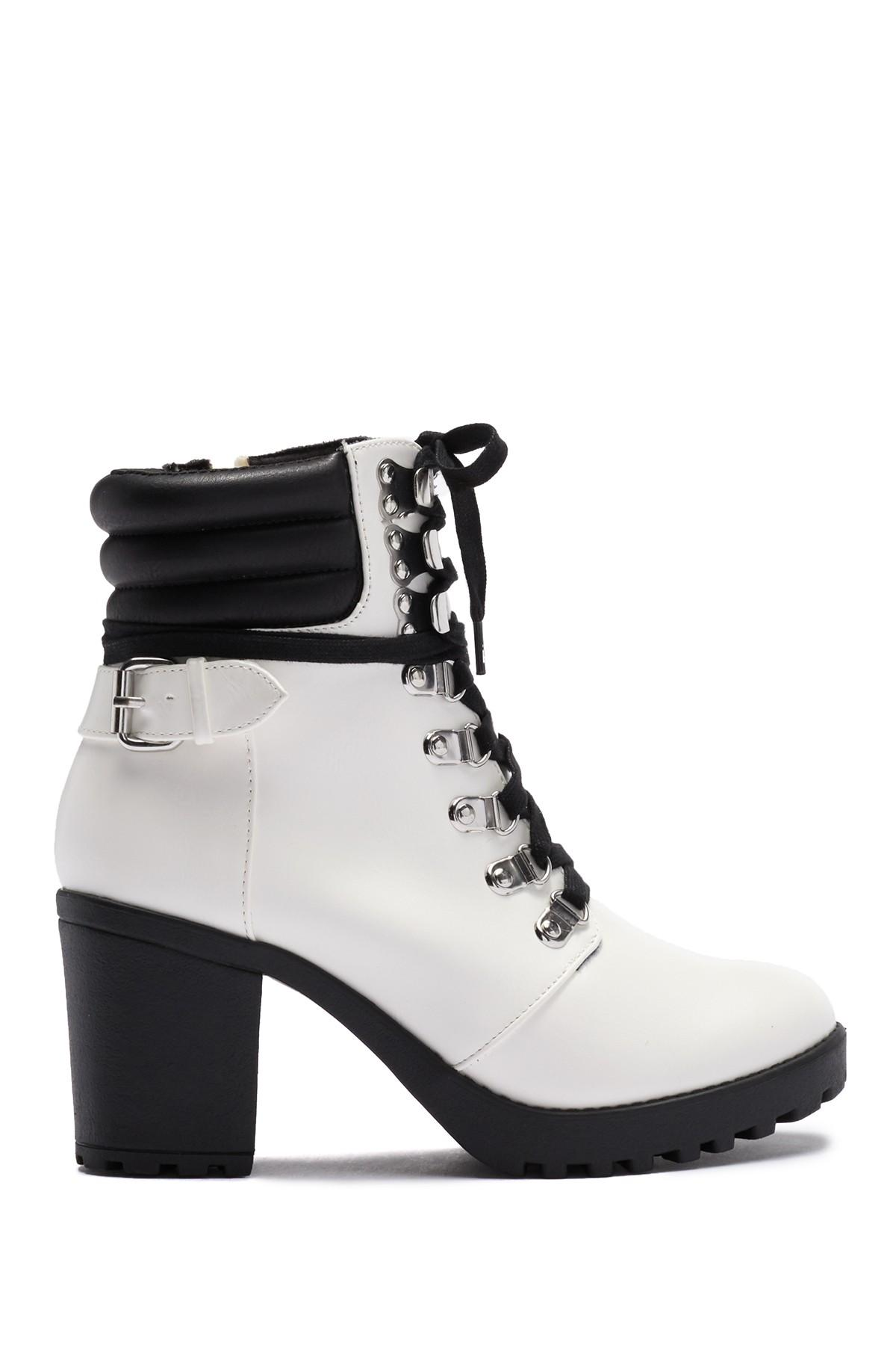 MIA Floraa Lace-up Boot in White - Lyst