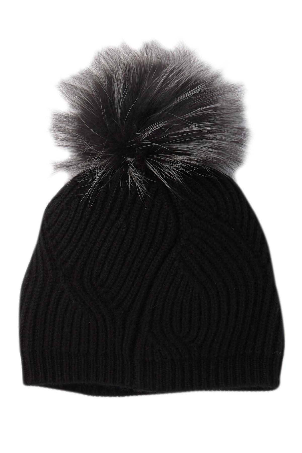 575f9ffd951 Sofia Cashmere. Women s Black Textured Ribbed Knit Beanie With Fur Pompom