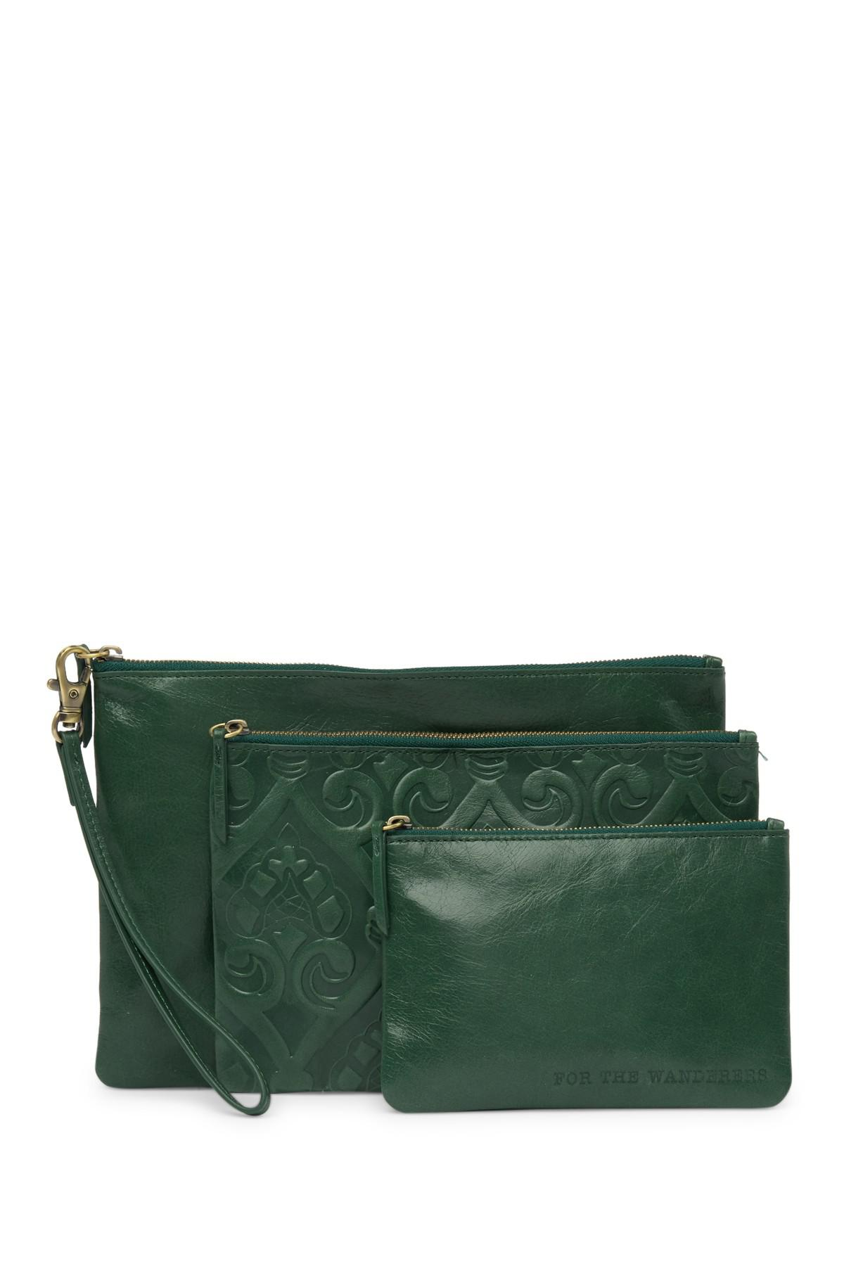 c60d6543ec7e Lyst - Hobo Triad Leather Pouch Set in Green
