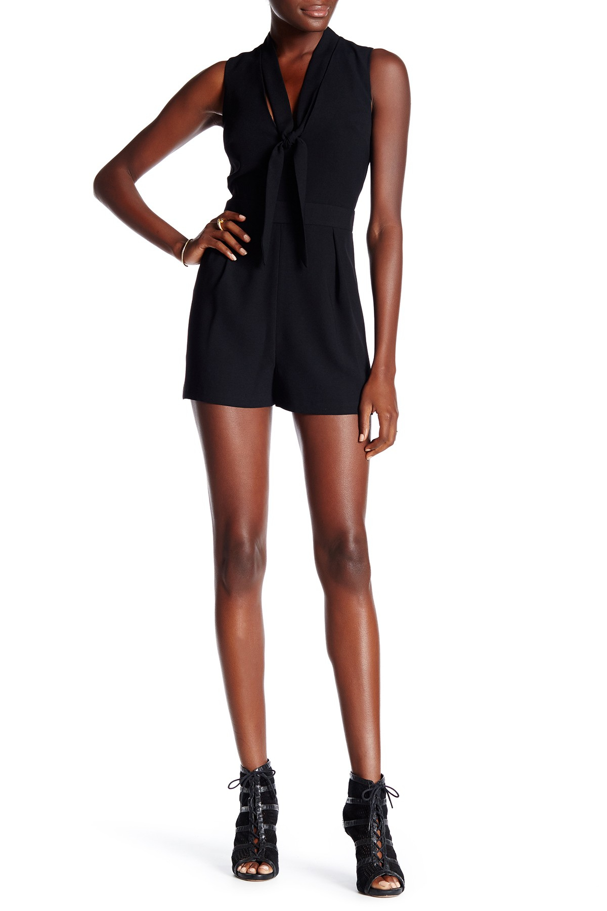 lyst topshop tie neck sleeveless romper in black. Black Bedroom Furniture Sets. Home Design Ideas