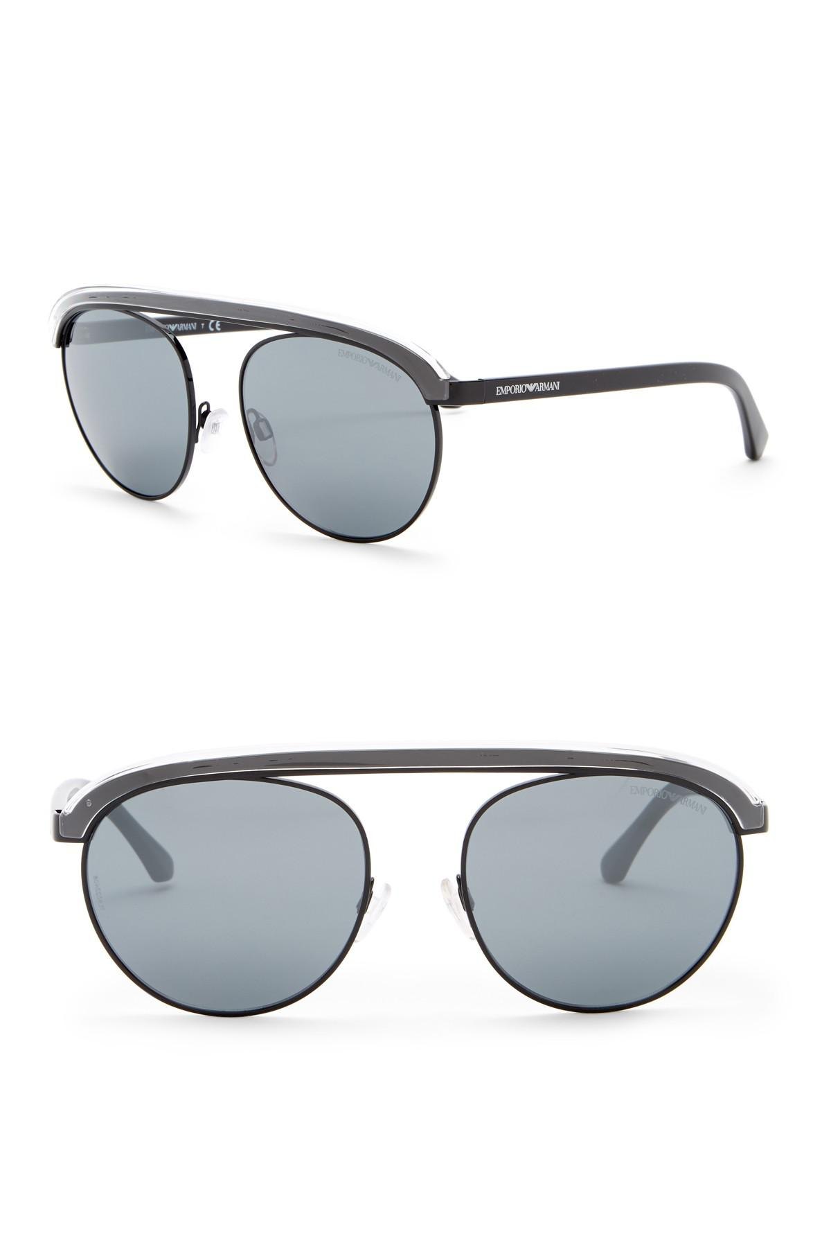 26feefb2268a Lyst - Emporio Armani 56mn Round Aviator Sunglasses in Black for Men