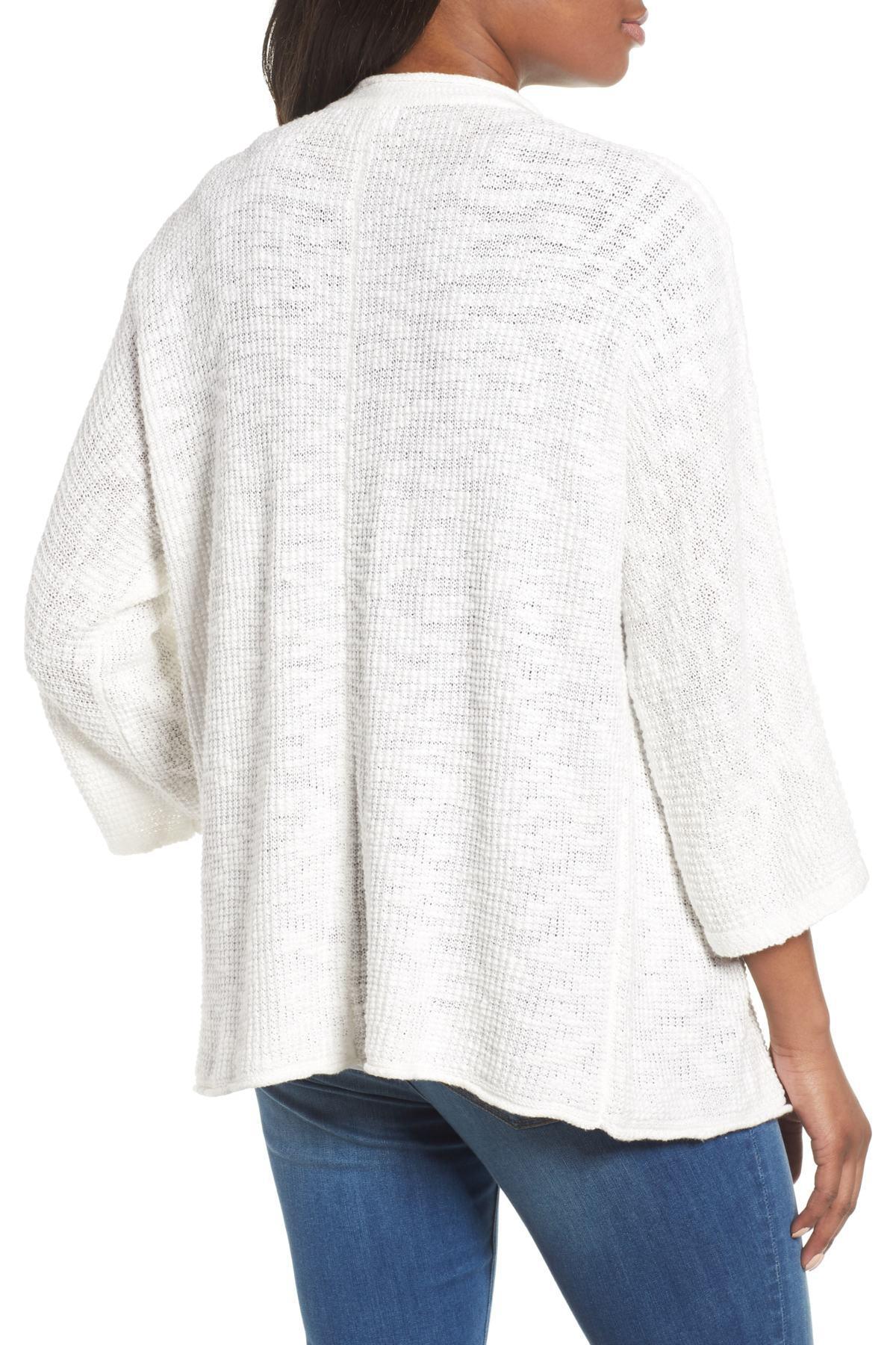 2319cf04f Lyst - Caslon (r) Drape Front Cotton Blend Cardigan (regular ...