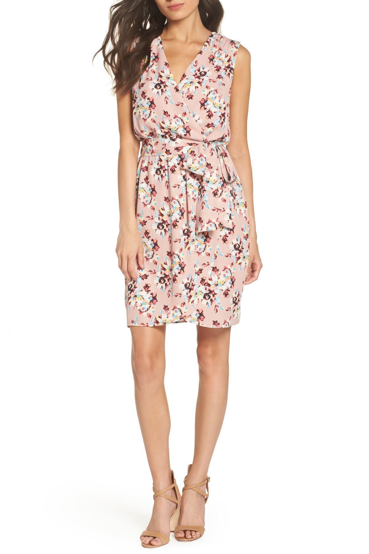 5ebb3ef1b0f7 Charles Henry. Women's Pink Floral Faux Wrap Dress (regular & Petite)