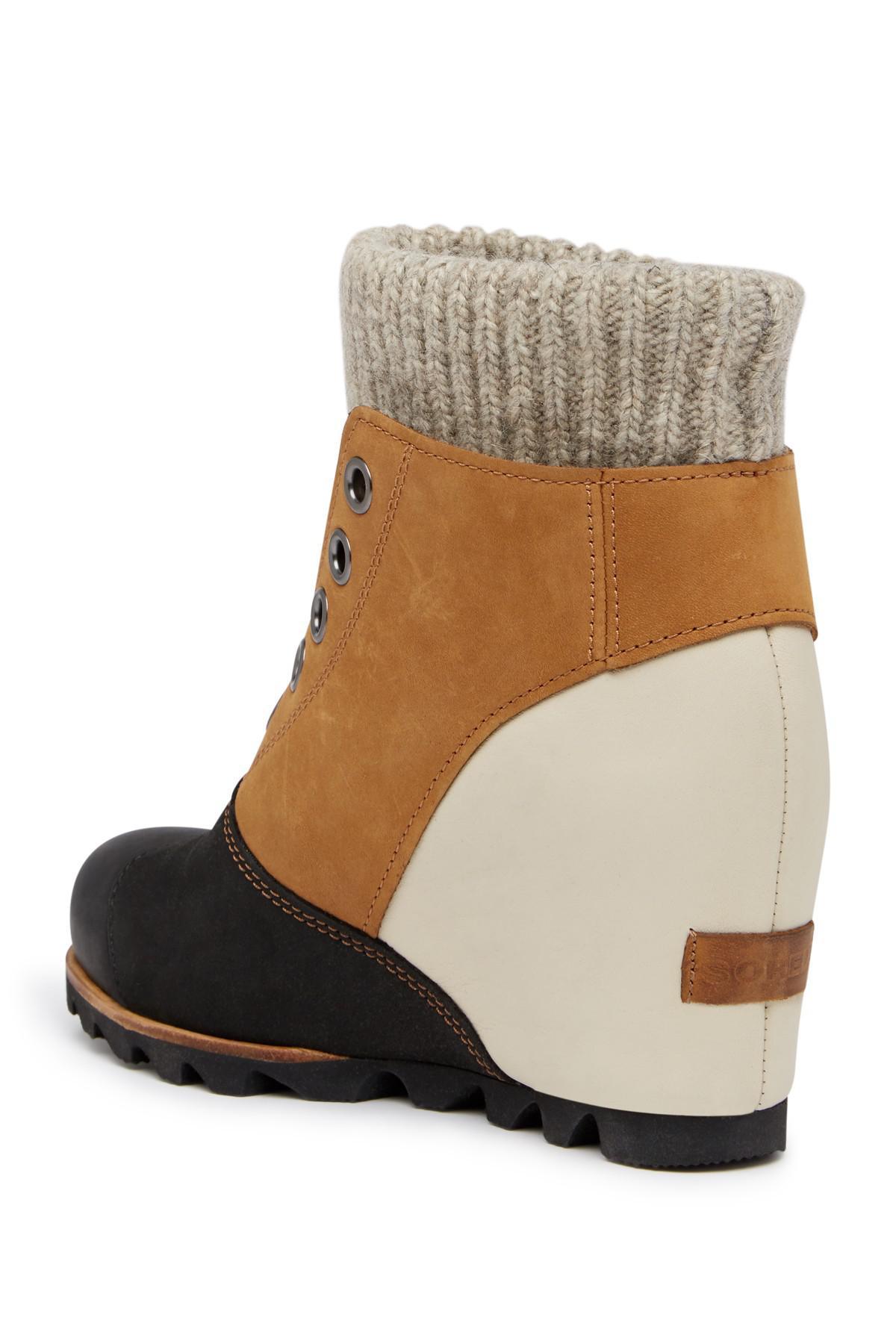 Lyst Sorel Joanie Sweater Sleek Waterproof Leather Wedge