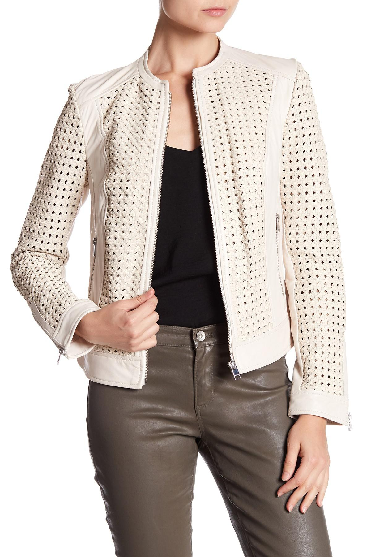 e9181e2aa1 Lamarque Bisla Leather Woven Jacket - Lyst