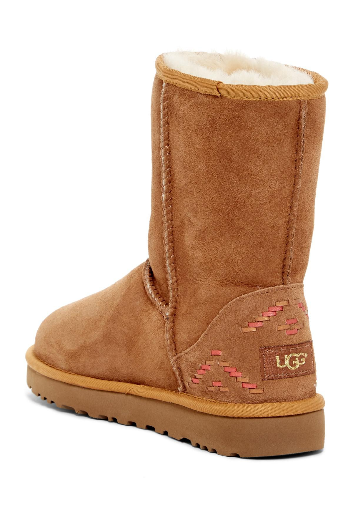 3722ad300a4 Ugg Brown Australia Classic Short Genuine Shearling Lined - Rustic Weave  Boot