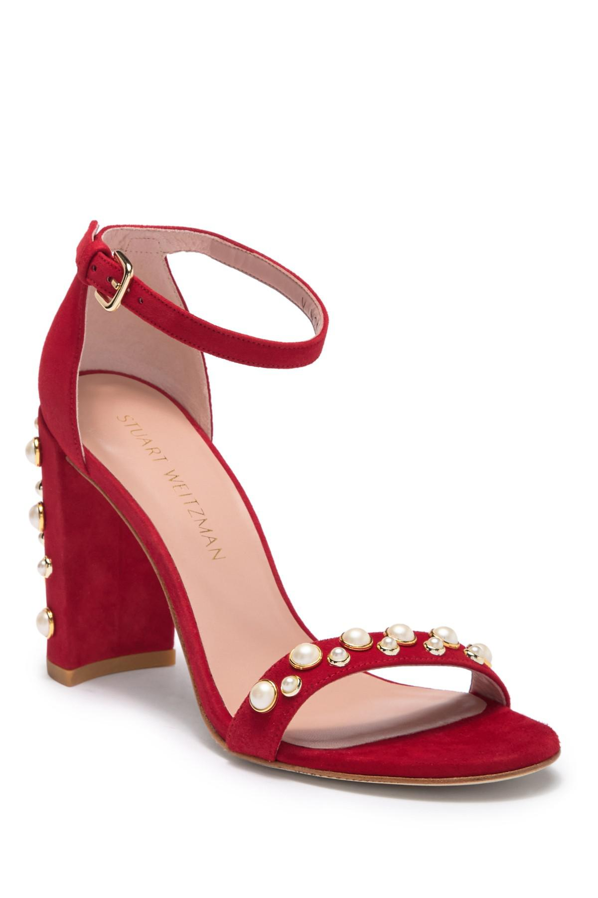 f6d1ff0ffb4 Stuart Weitzman - Red More Pearls Block Heel Suede Sandal - Lyst. View  fullscreen