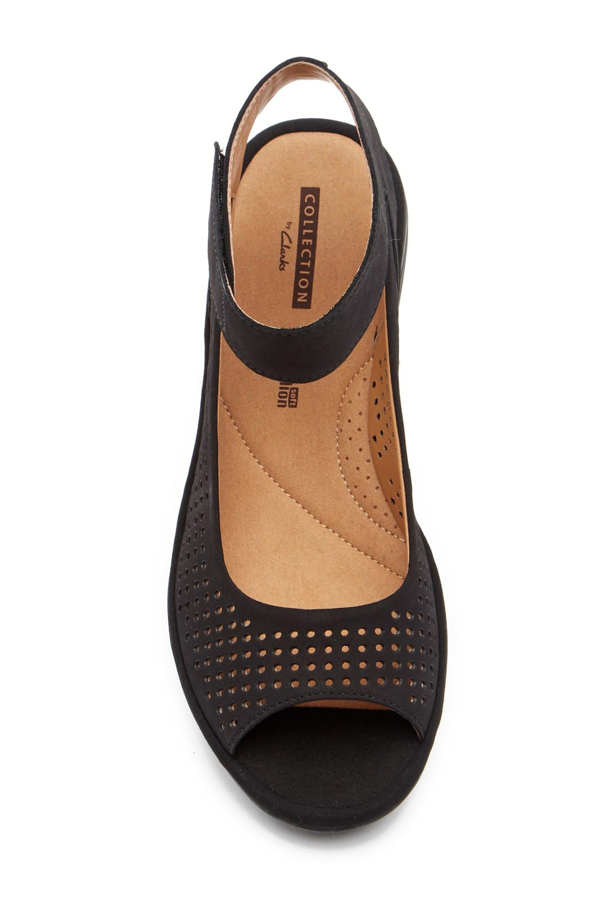 b9ed93a639a1 Clarks - Black Reedly Salene Wedge Sandal - Wide Width Available - Lyst.  View fullscreen