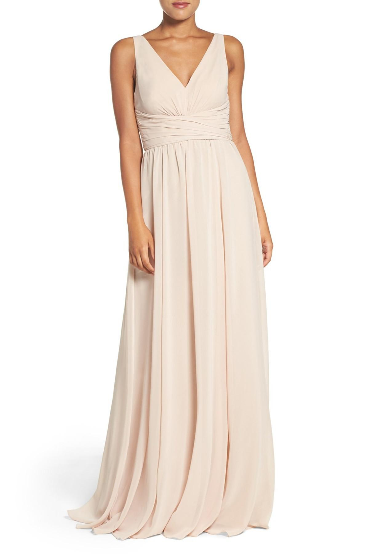 Lyst - Amsale Justine Double V-neck Chiffon Gown in Natural