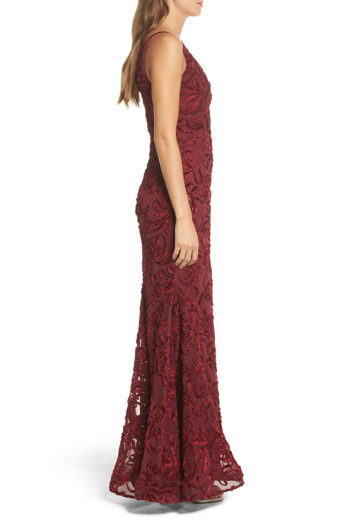 63fe5a6a Xscape Flocked Velvet Gown in Red - Lyst