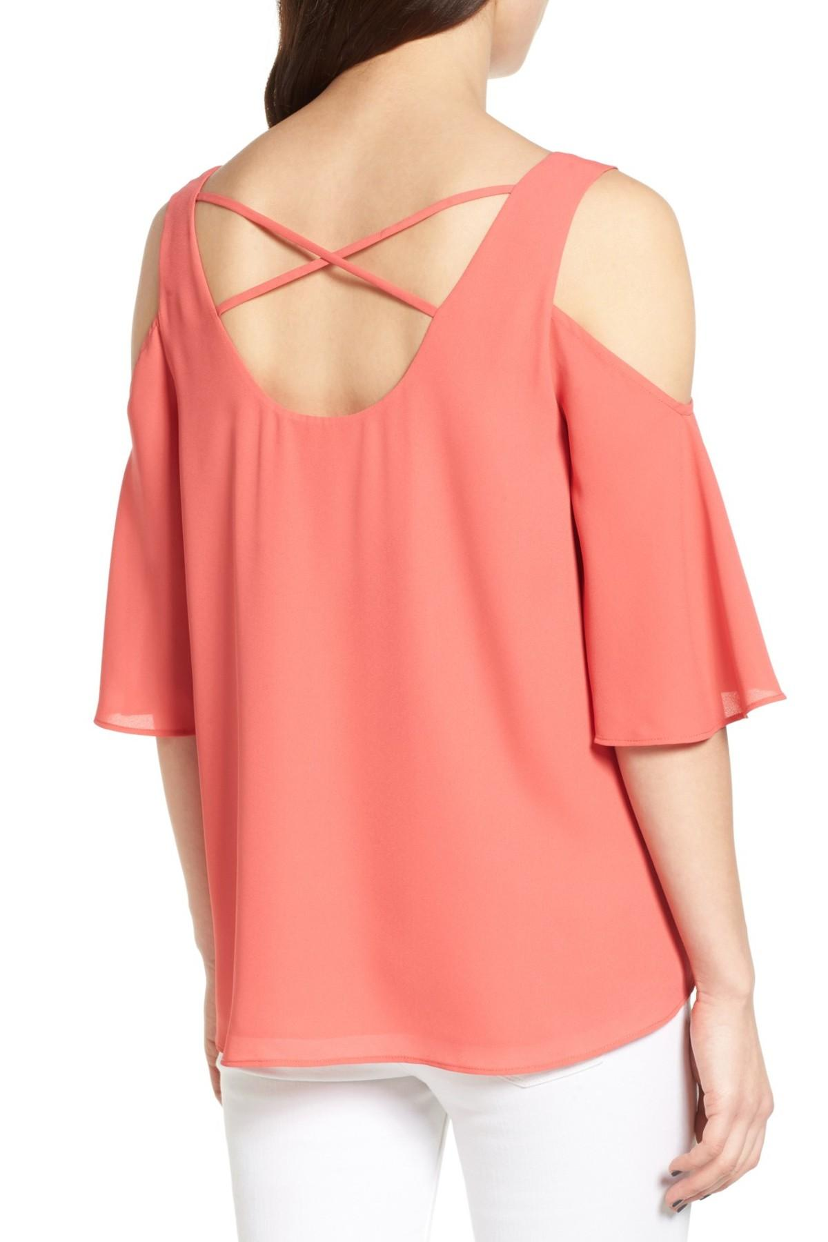 f7e890003efdd2 Lyst - Chelsea28 Chiffon Cold Shoulder Top in Pink