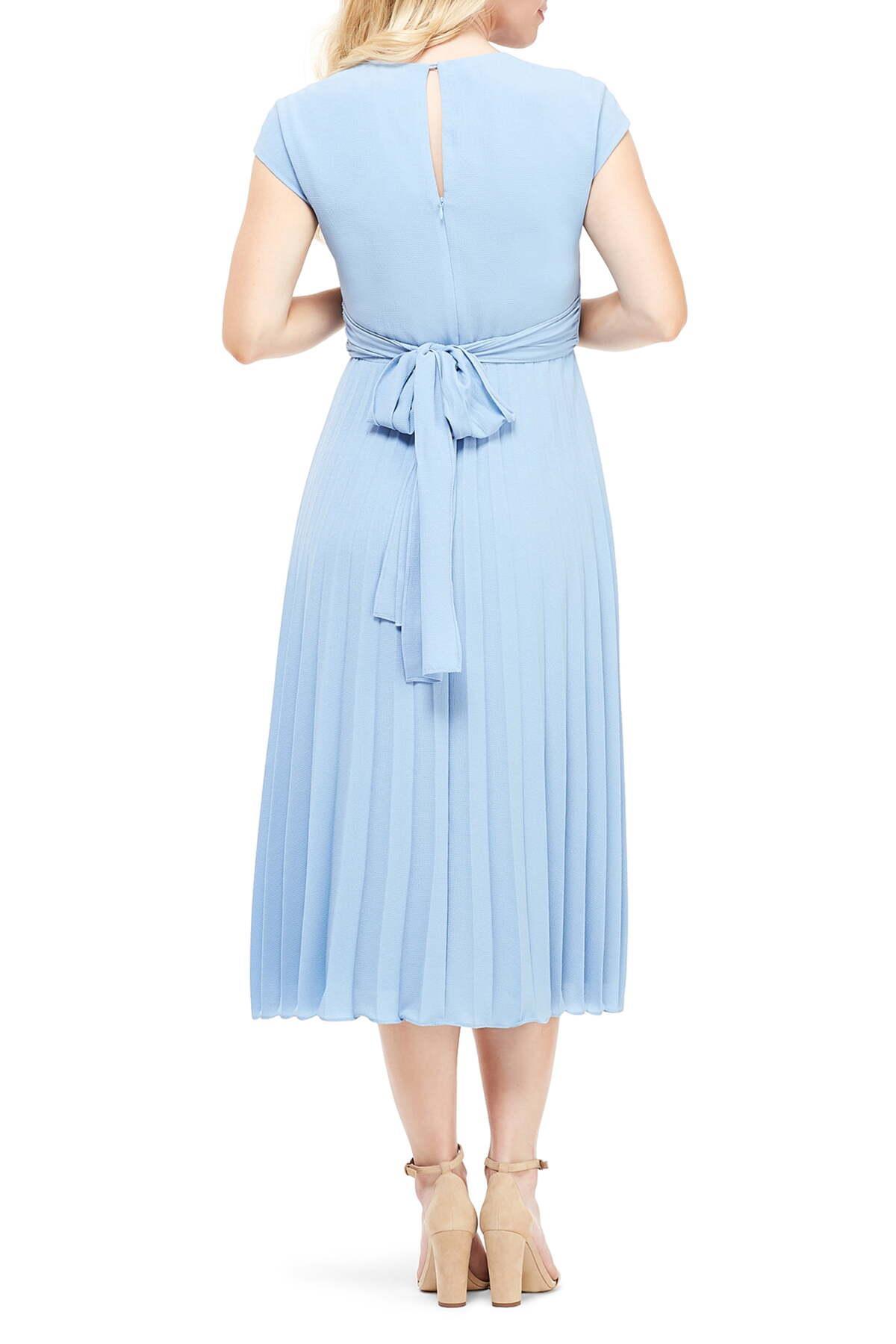 La Maison De Maggy Bondues cap sleeve bow detail pleated midi dress