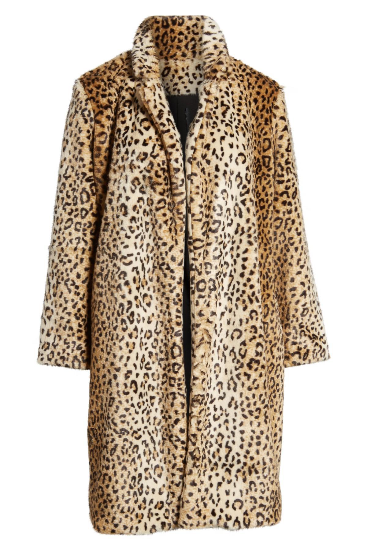 Chelsea28 Leopard Print Faux Fur Jacket In Brown Lyst