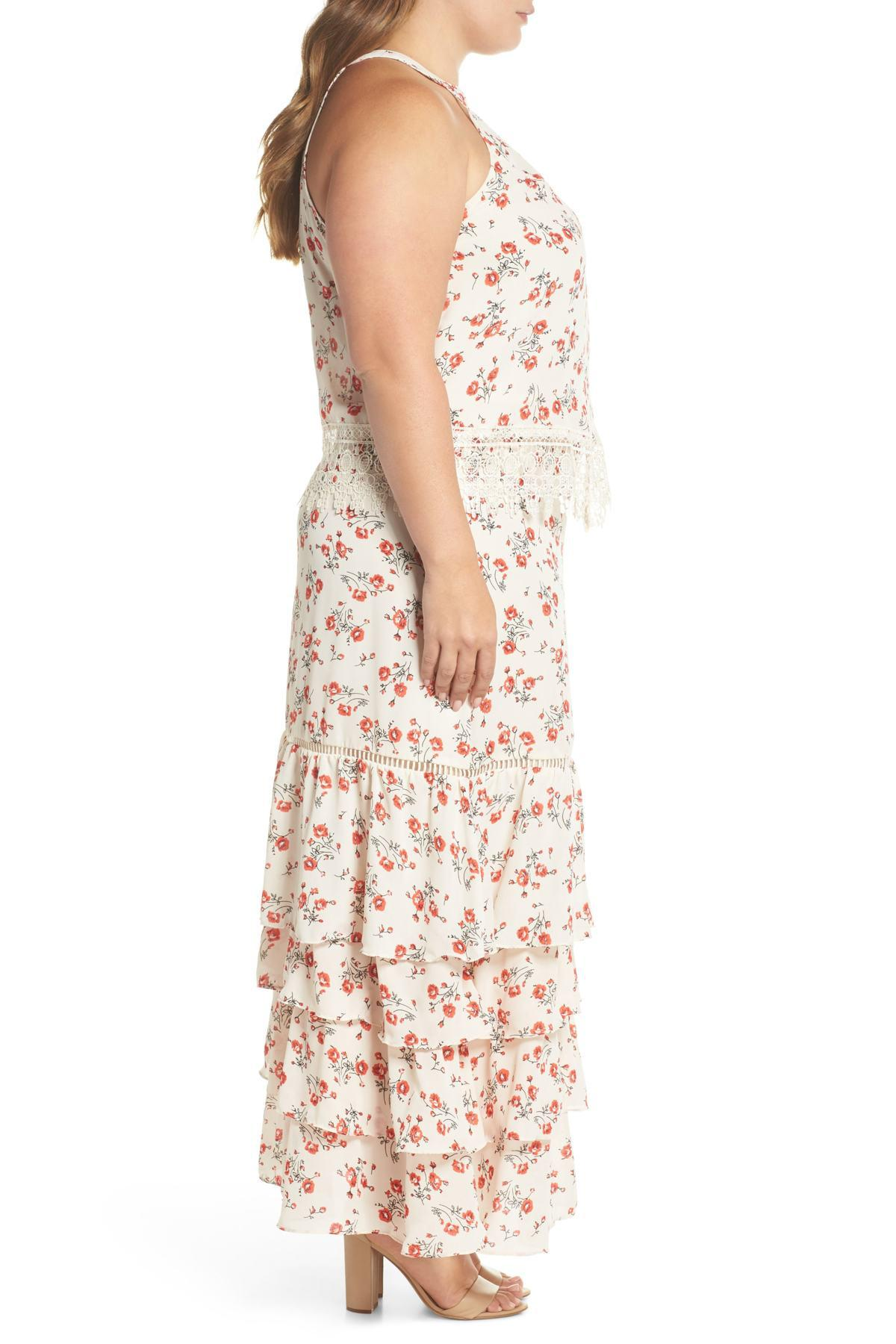 Floral & Lace Tiered Two-piece Dress (plus Size)