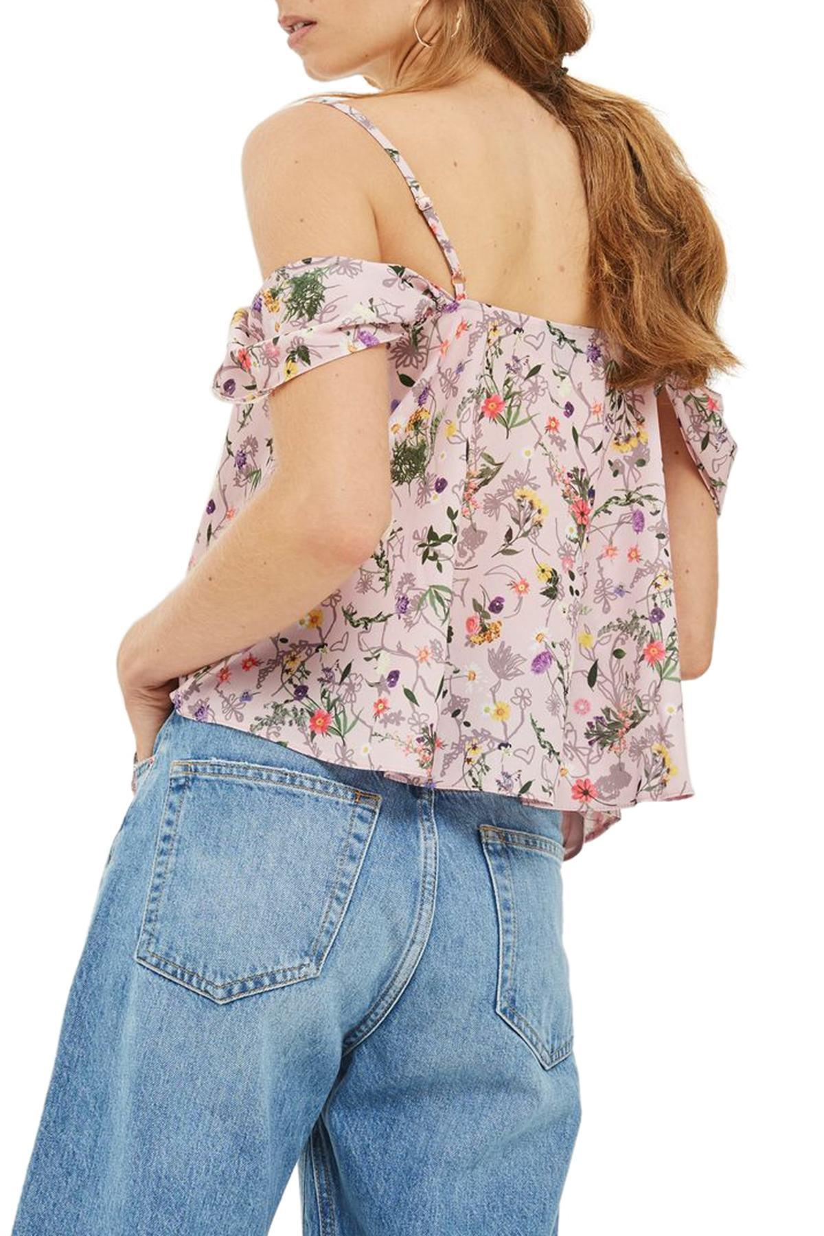 e40a4ee8d88 TOPSHOP Press Flower Cold Shoulder Top in Pink - Save 71% - Lyst
