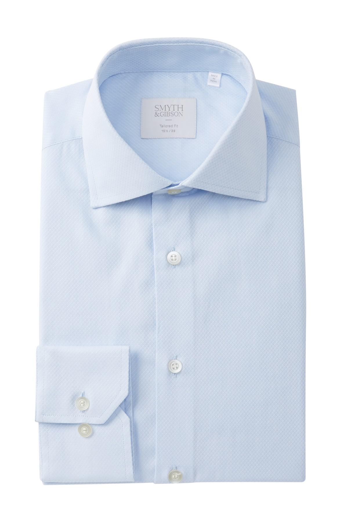 Lyst smyth gibson diagonal v dobby tailored fit dress for Nordstrom custom dress shirts