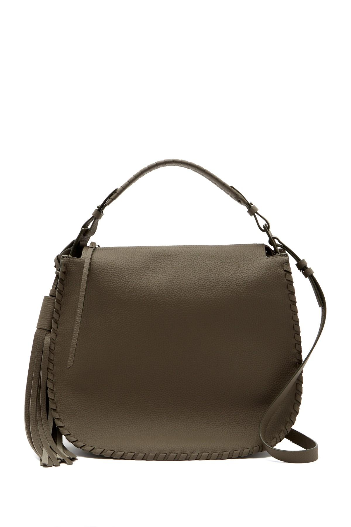 6d0c5ff0477 Lyst - AllSaints Mori Leather Hobo Bag in Gray - Save 67%