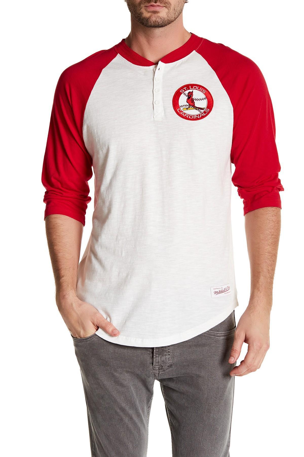 f447d52f Lyst - Mitchell & Ness Mlb Cardinal Unbeaten Henley Shirt in Red for Men