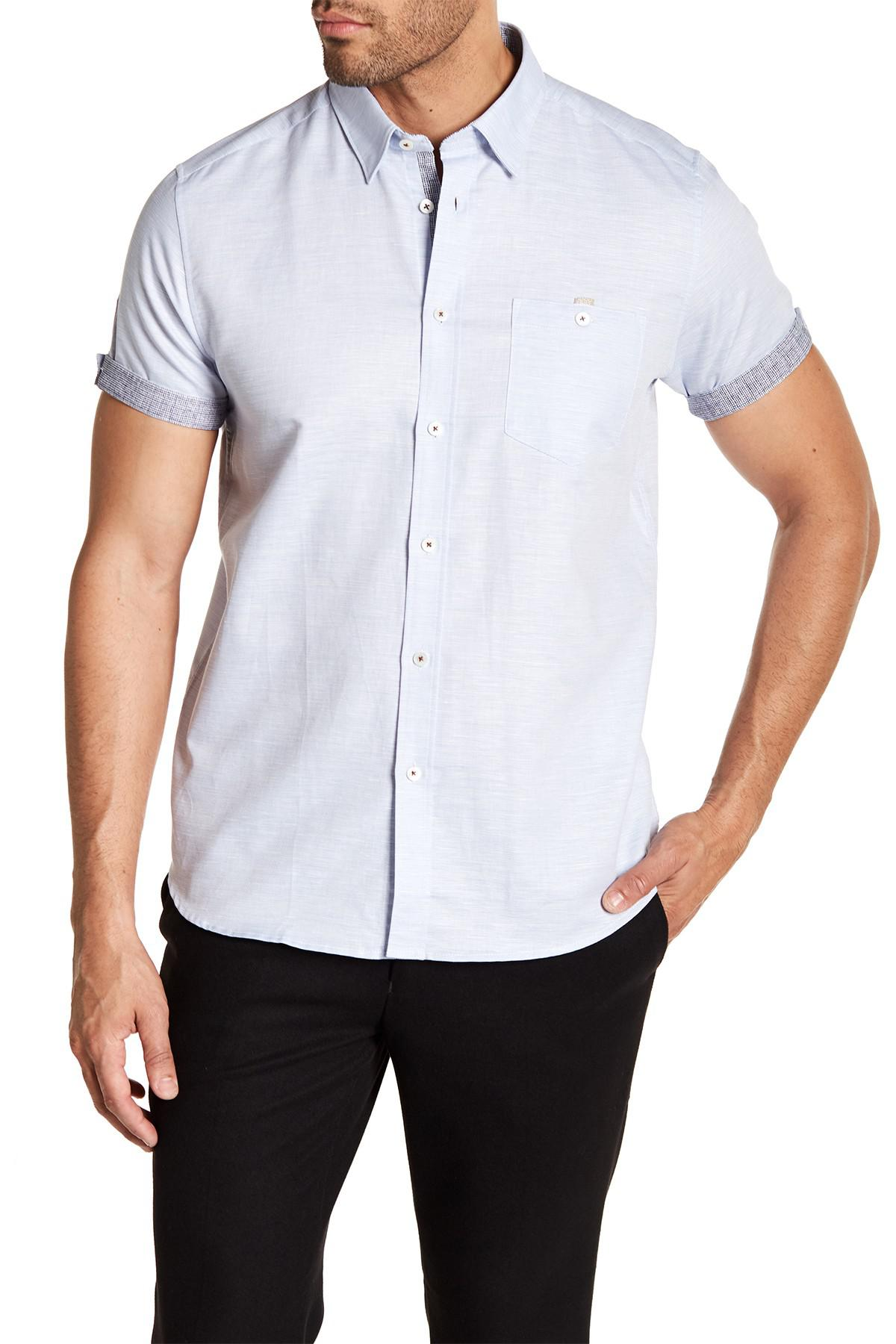 b1c0f7a5ece93 Lyst - Ted Baker Palpin Textured Button Front Short Sleeve Shirt in ...