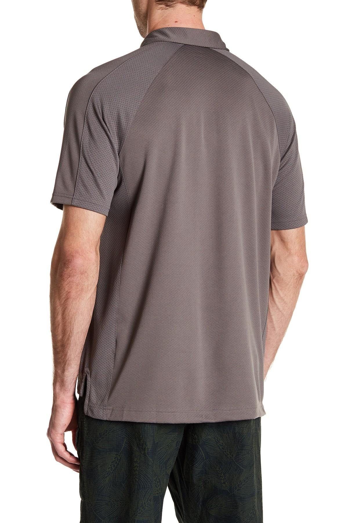 Lyst lands 39 end active pique polo in gray for men for Lands end logo shirts