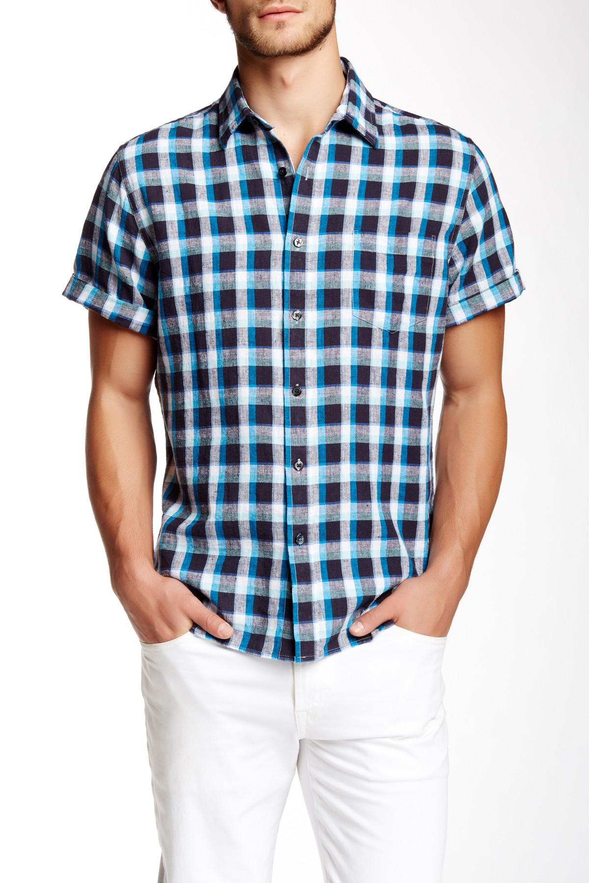 Tocco Toscano Plaid Short Sleeve Regular Fit Shirt In Blue
