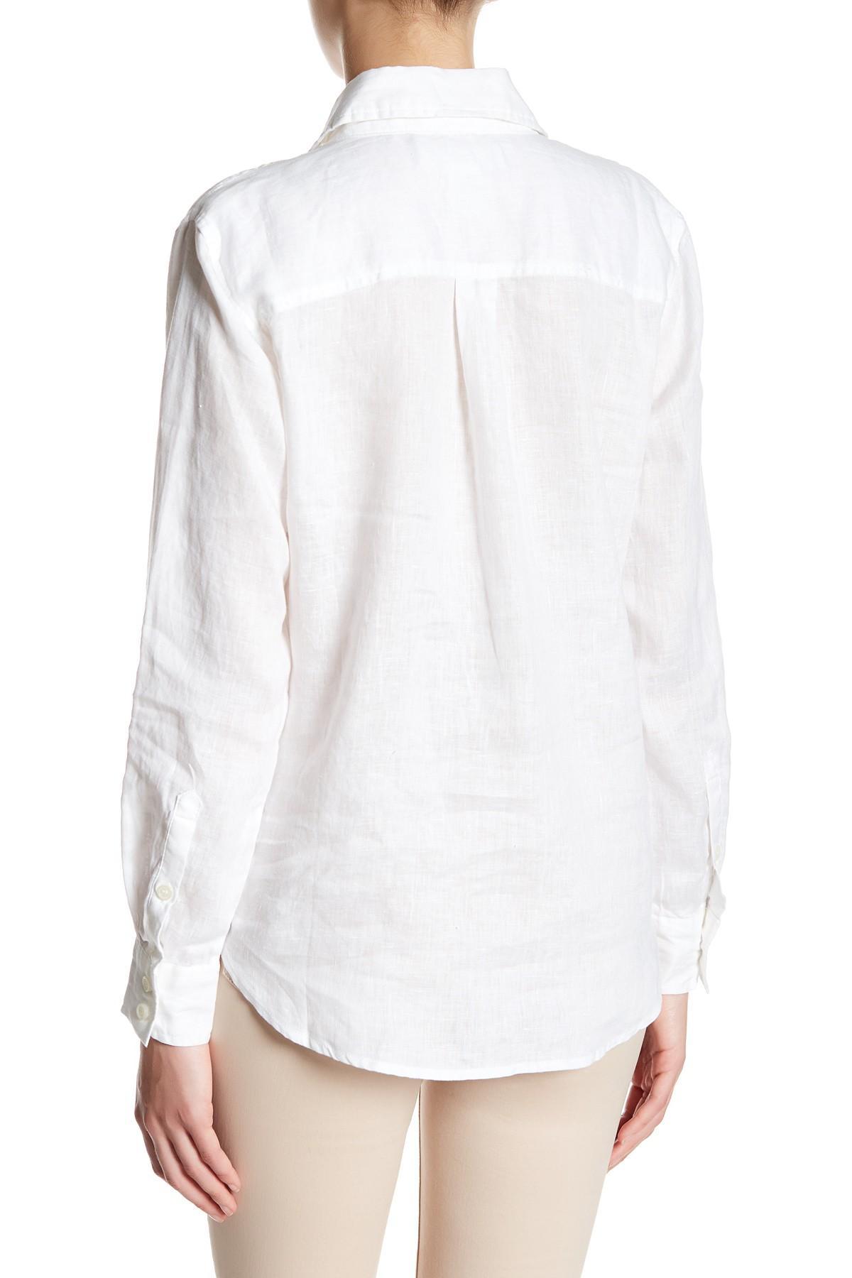 Lyst workshop long sleeve linen button up shirt petite for Linen long sleeve shirt