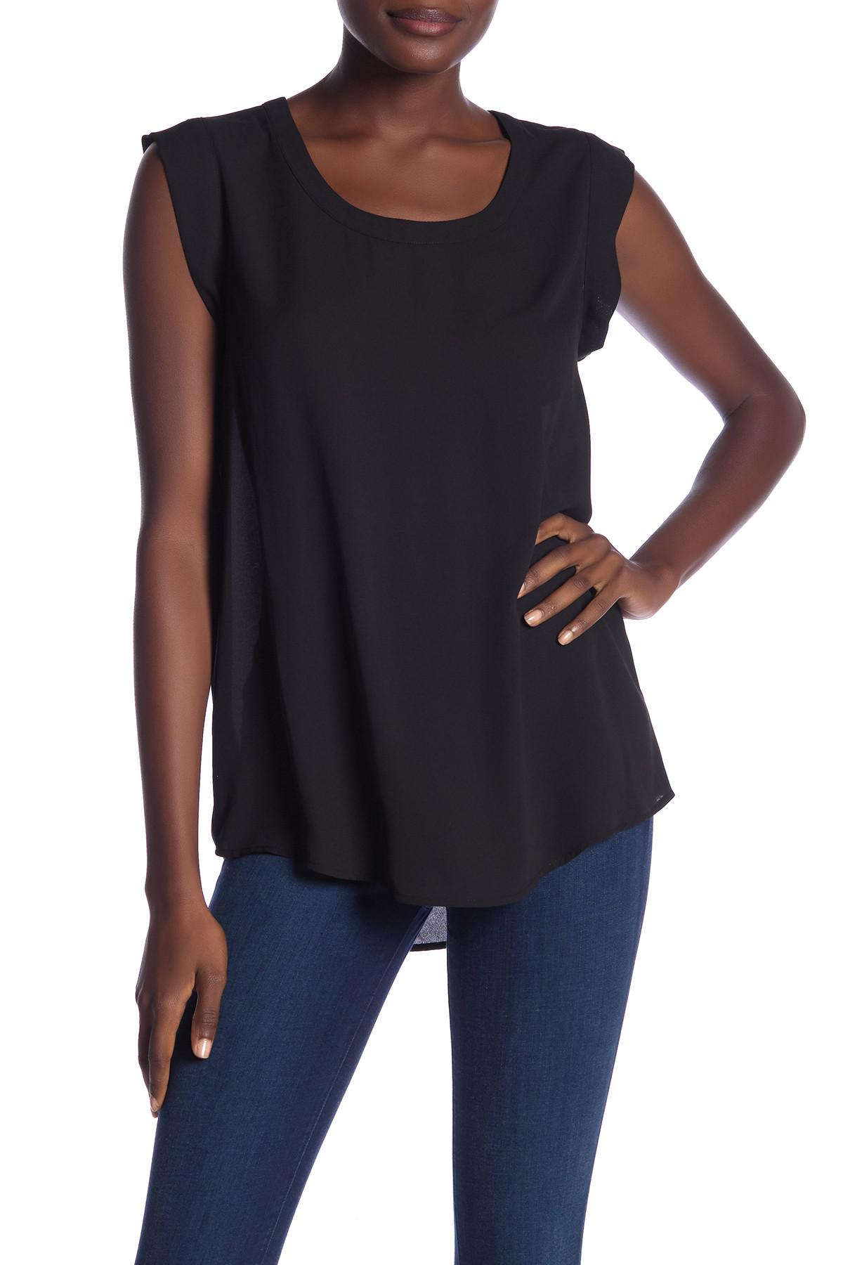 d2fddb3fb494c7 Lyst - Pleione Bailey Double Pleat Blouse in Black