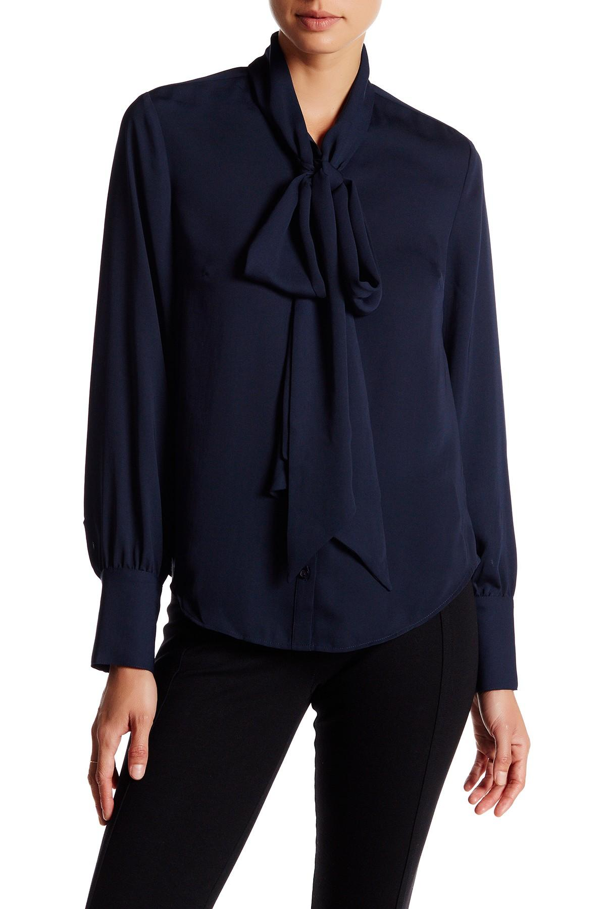 Lyst Lands End Bow Tie Blouse In Blue