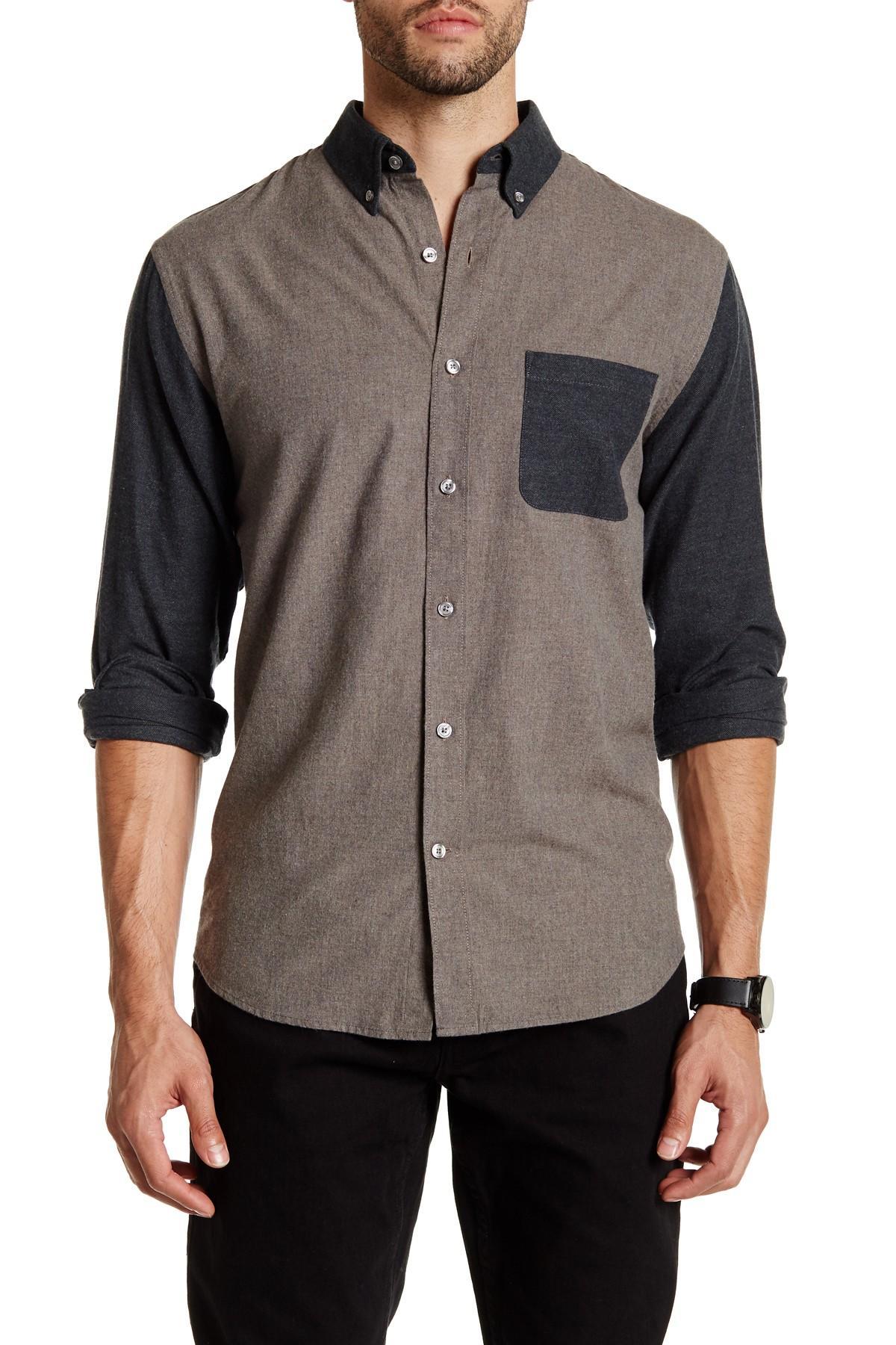 lands end herringbone sleeve regular fit shirt in