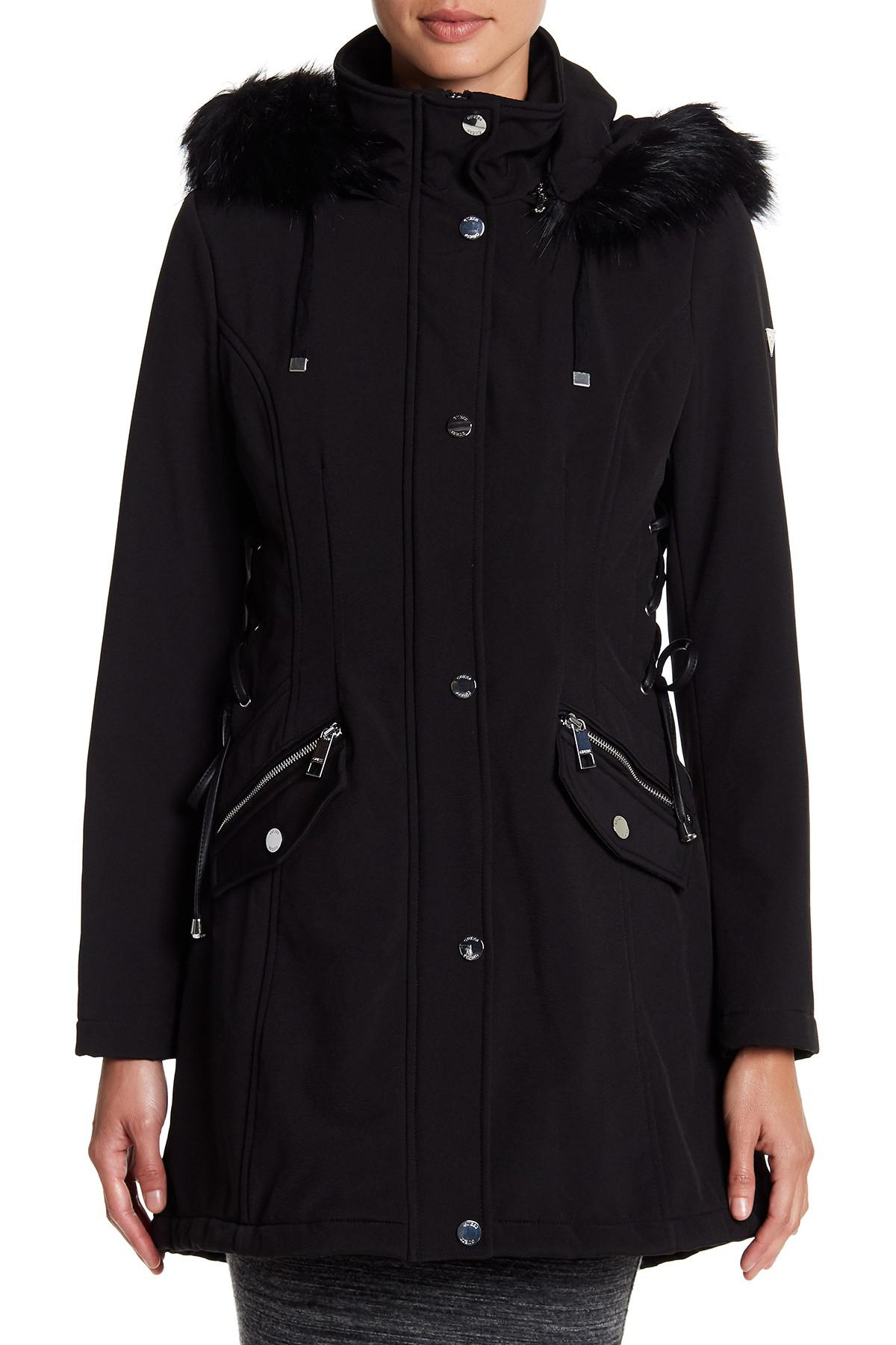 Guess Side Lace Up Faux Fur Trim Hooded Jacket In Black Lyst