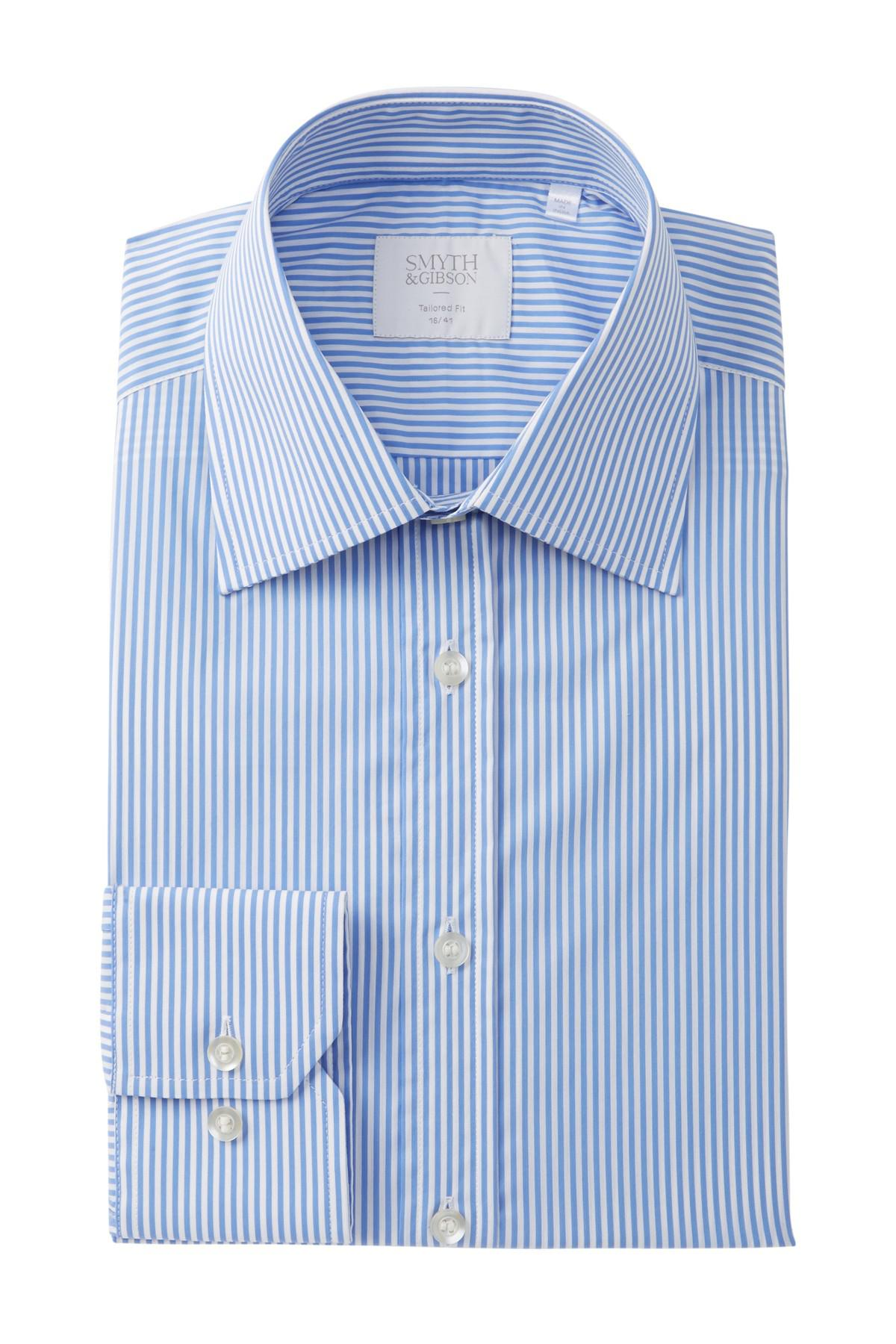 Lyst smyth gibson bengal stripe tailored fit dress for Nordstrom custom dress shirts
