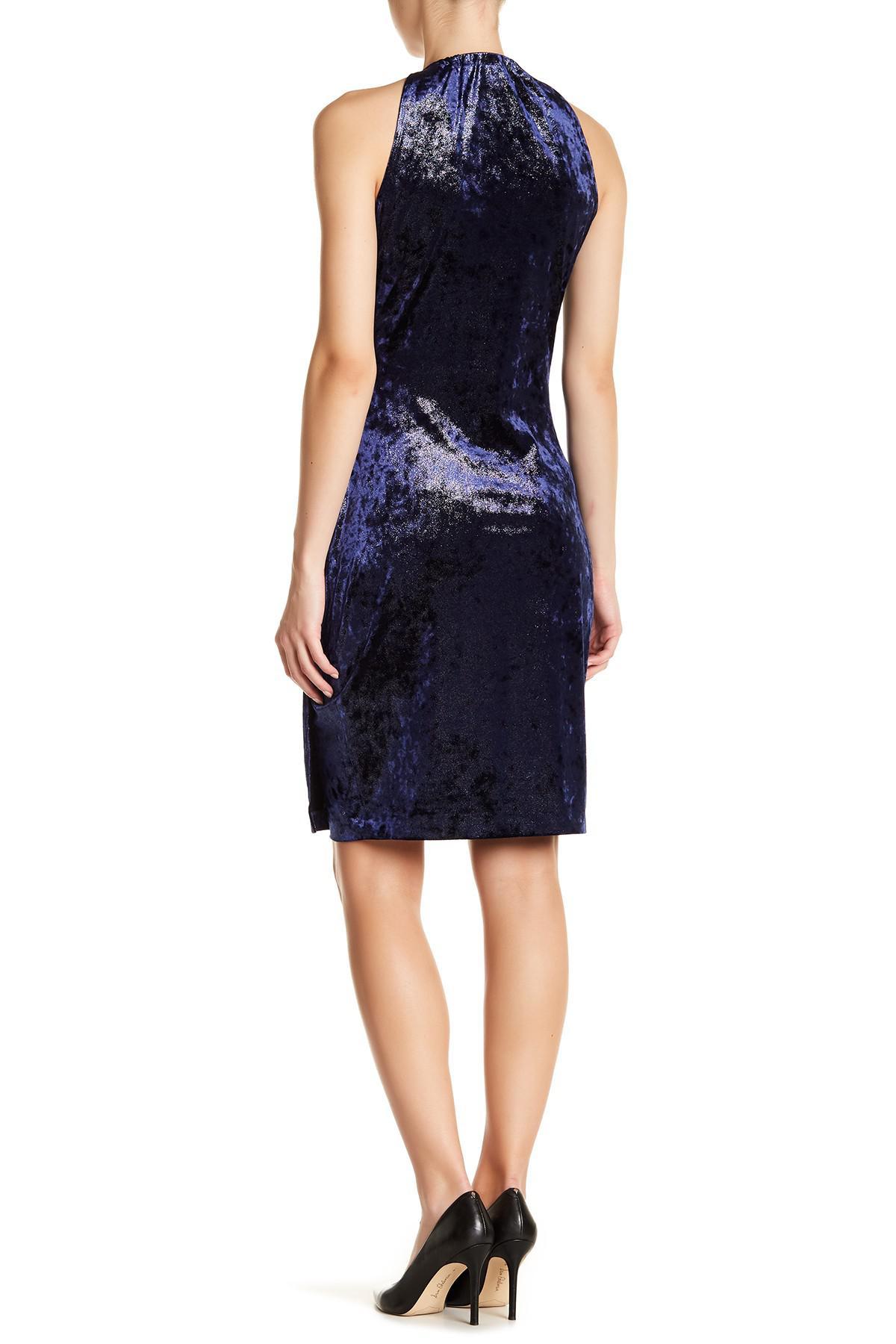 Lyst T Tahari Diosa Metallic Velvet Wrap Dress In Blue