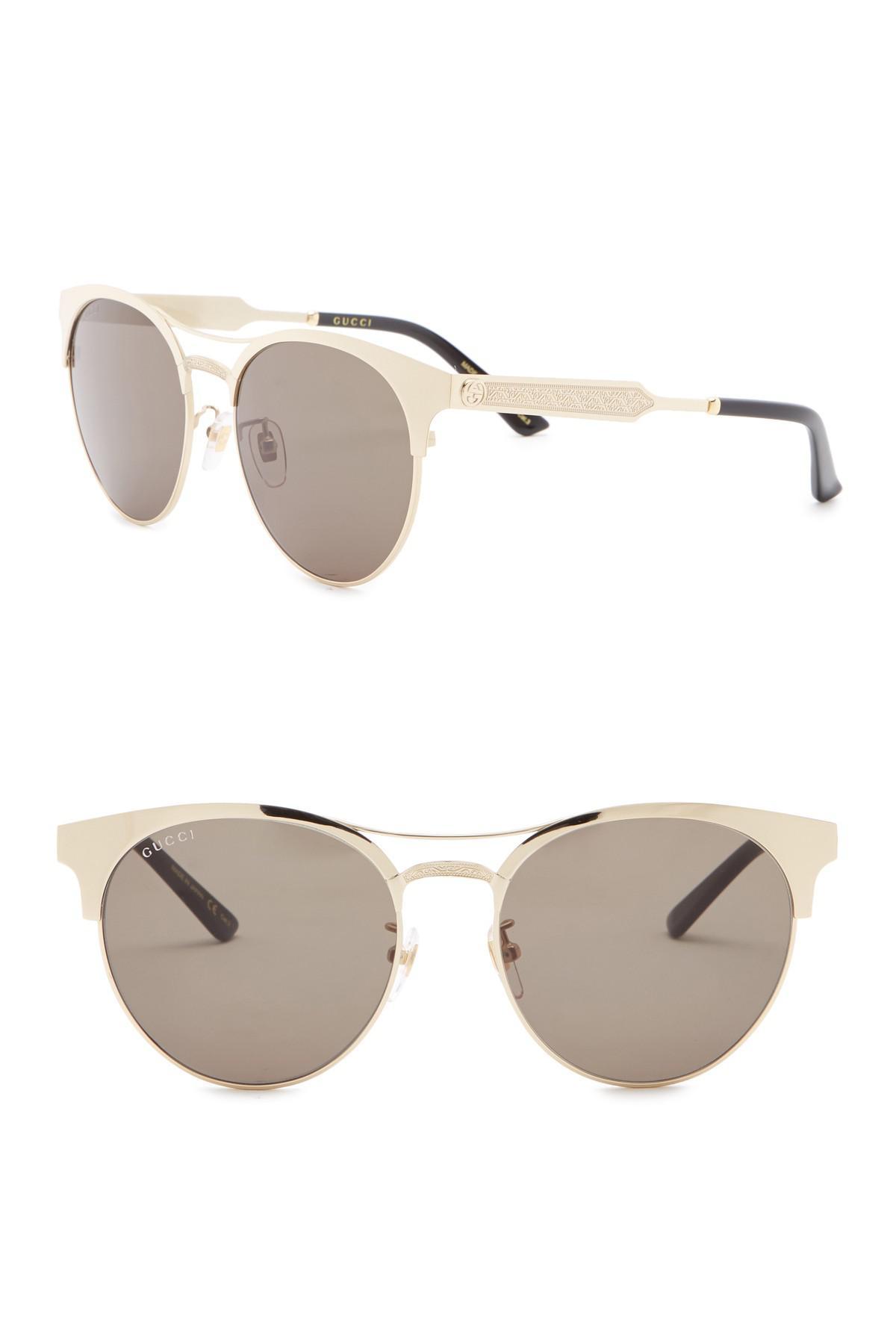 e027ddf1099 Lyst - Gucci 56mm Round Browbar Sunglasses in Metallic
