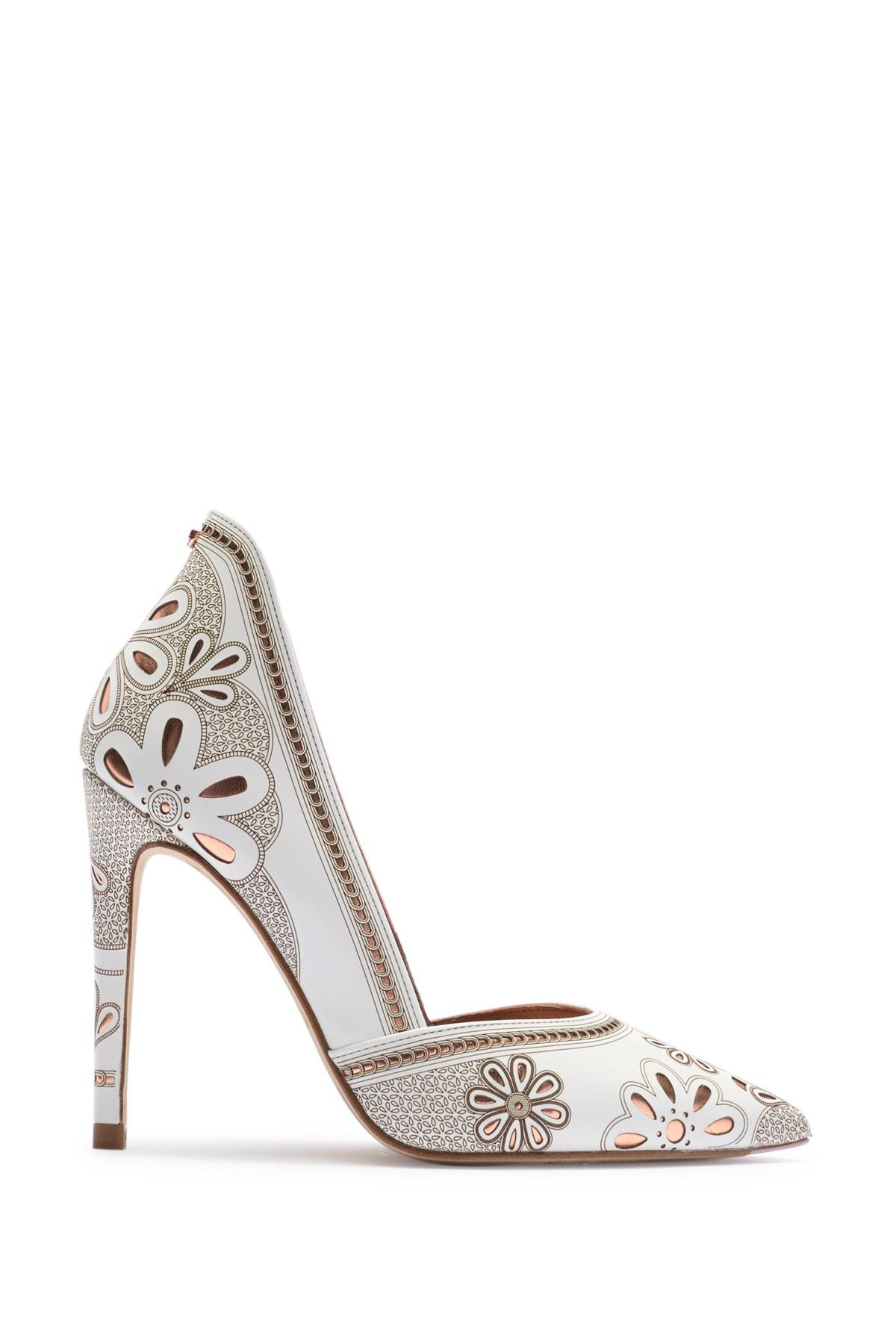 32b68b4f1be972 Lyst - Ted Baker Amahri Leather Stiletto Pump in White