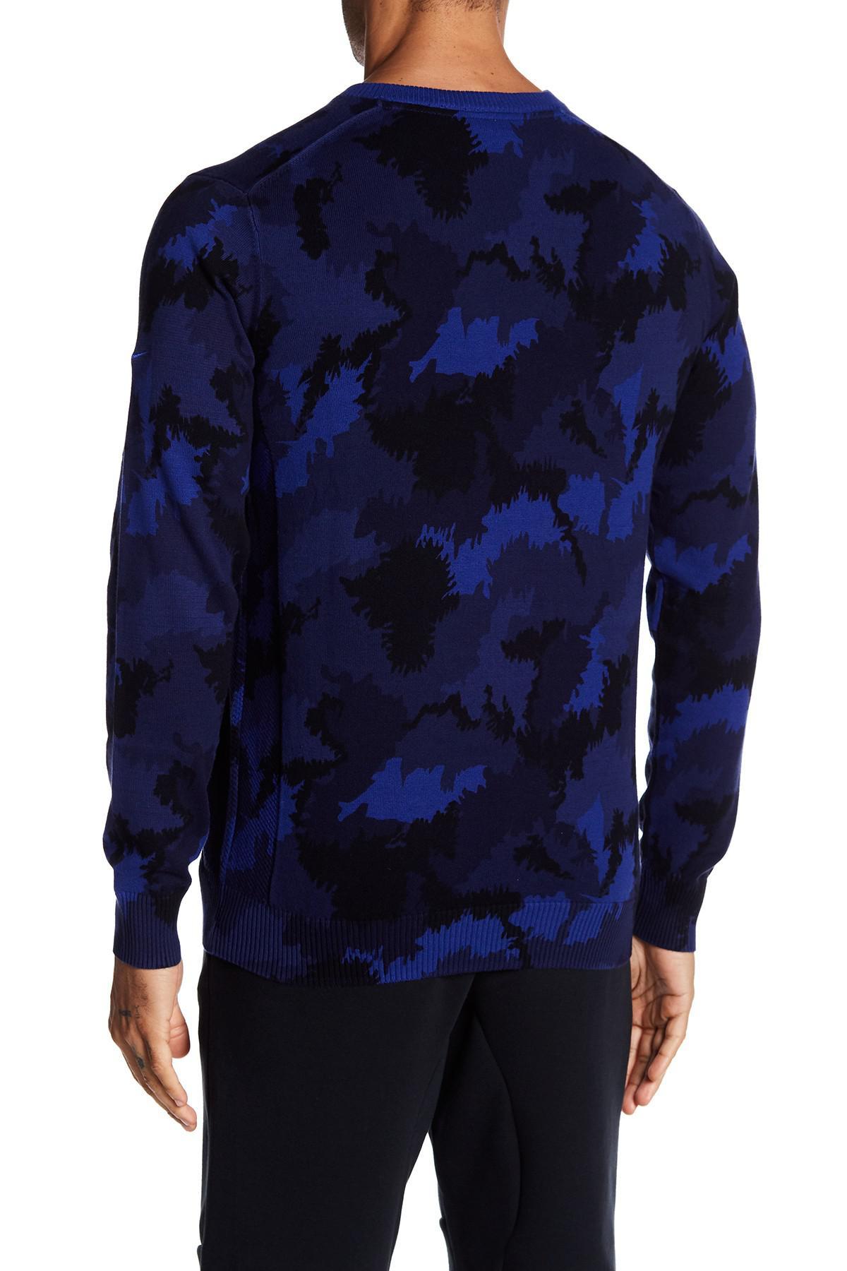 Nike Camo V-neck Sweater in Blue for Men | Lyst