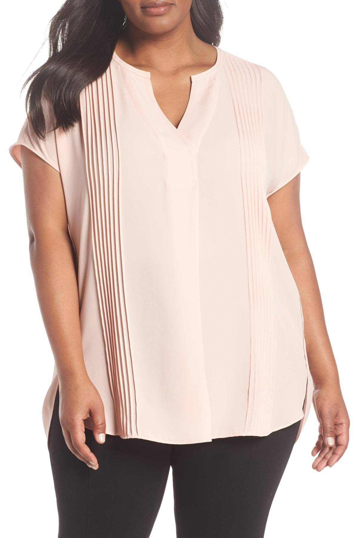 9d492195cdf50 Lyst - Sejour Pleat Tunic (plus Size) in Pink