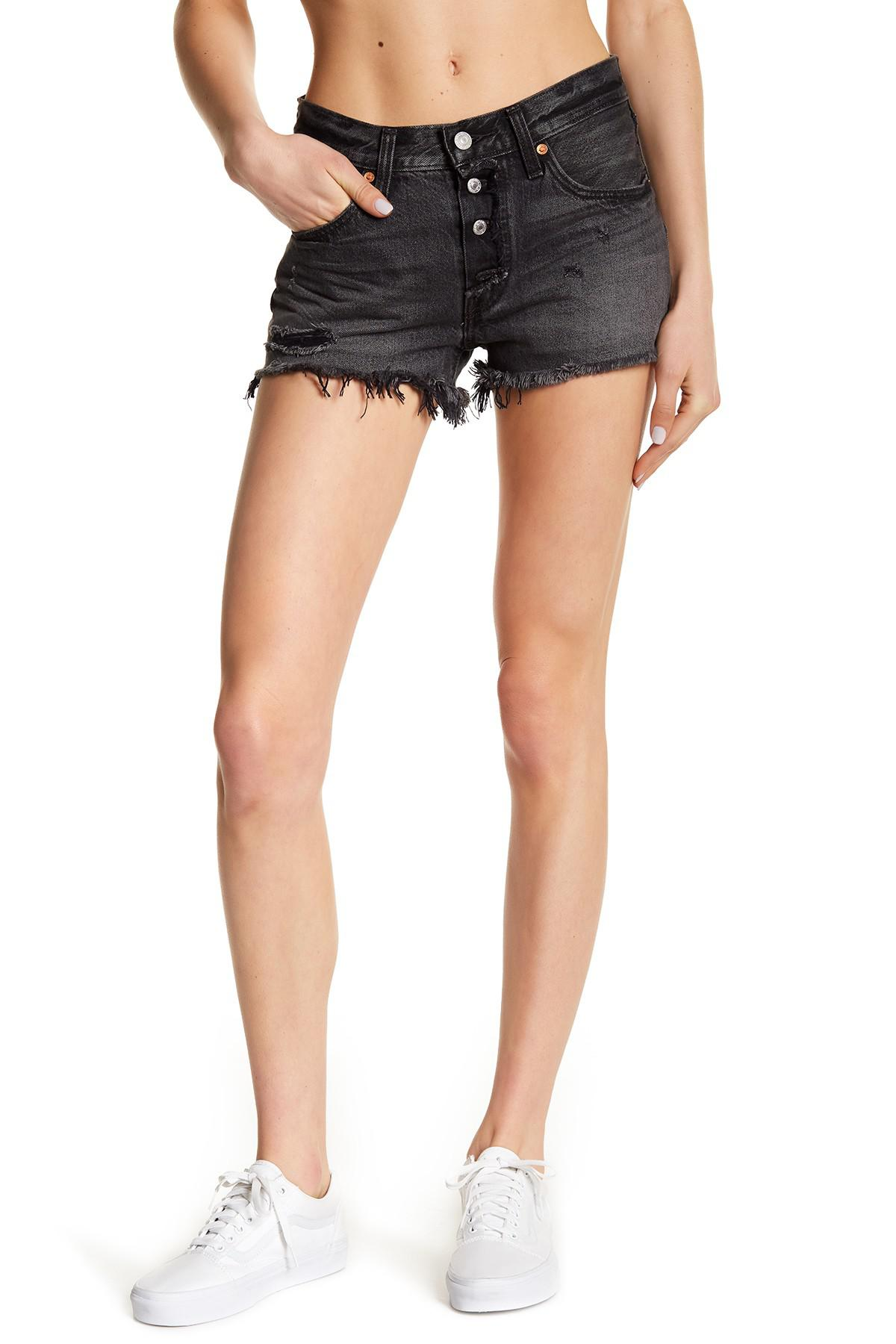 abe6909b Levi's Distressed 501 Shorts in Black - Lyst